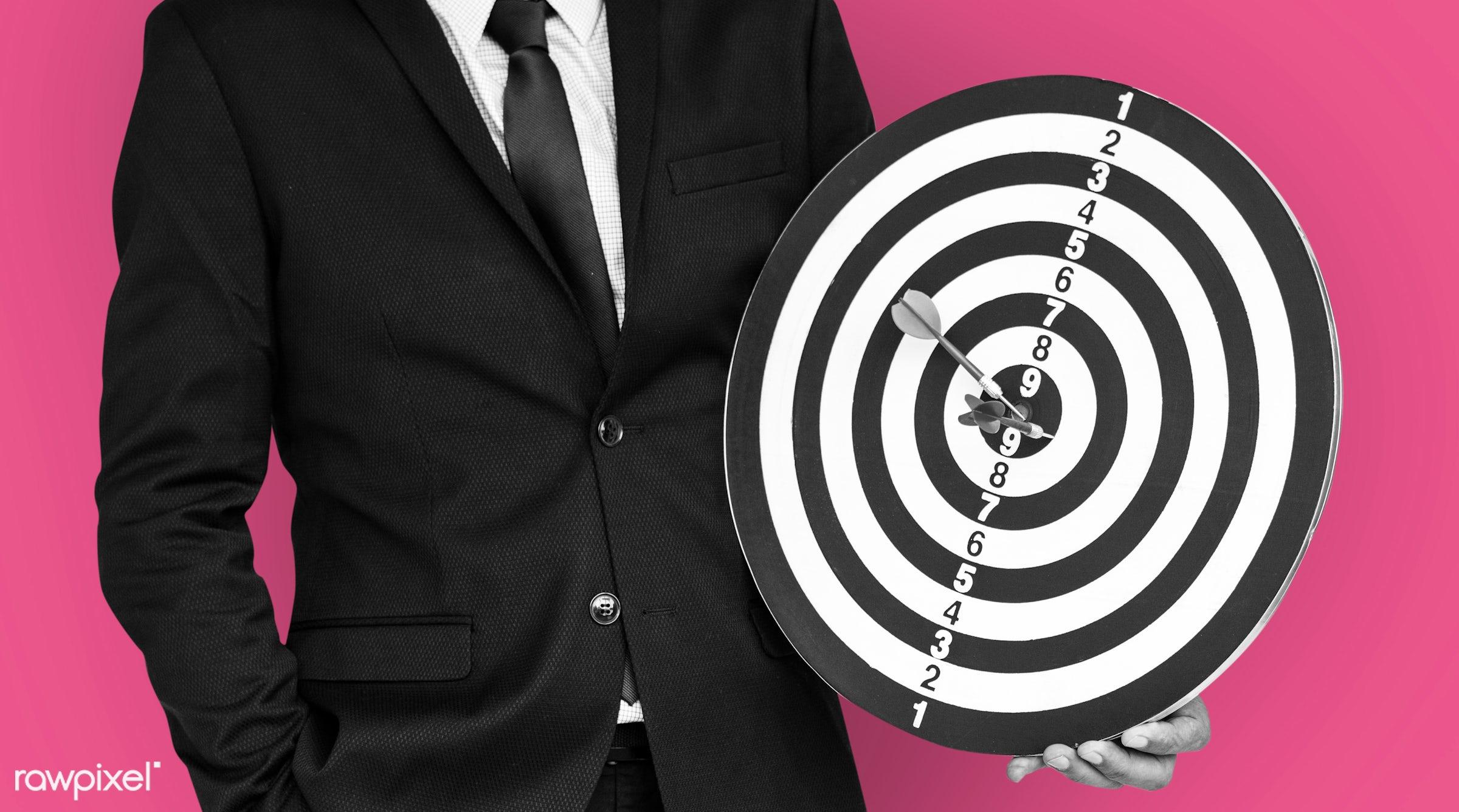 achieve, adult, background, bullseye, business dress, business wear, dart board, darts, expression, formal, formal wear,...