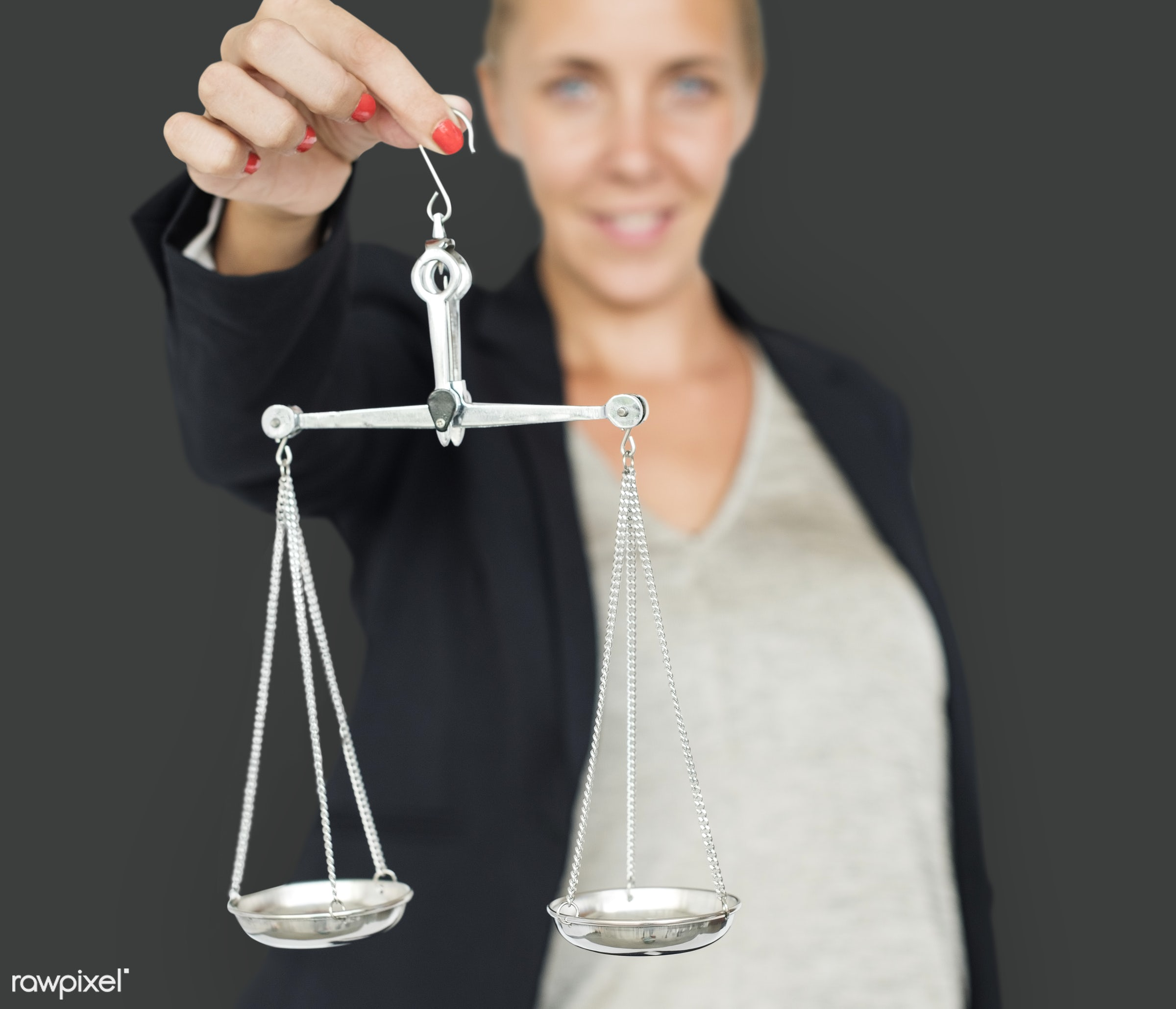 expression, studio, scale, person, business wear, people, business, caucasian, balance, girl, woman, happy, justice scale,...