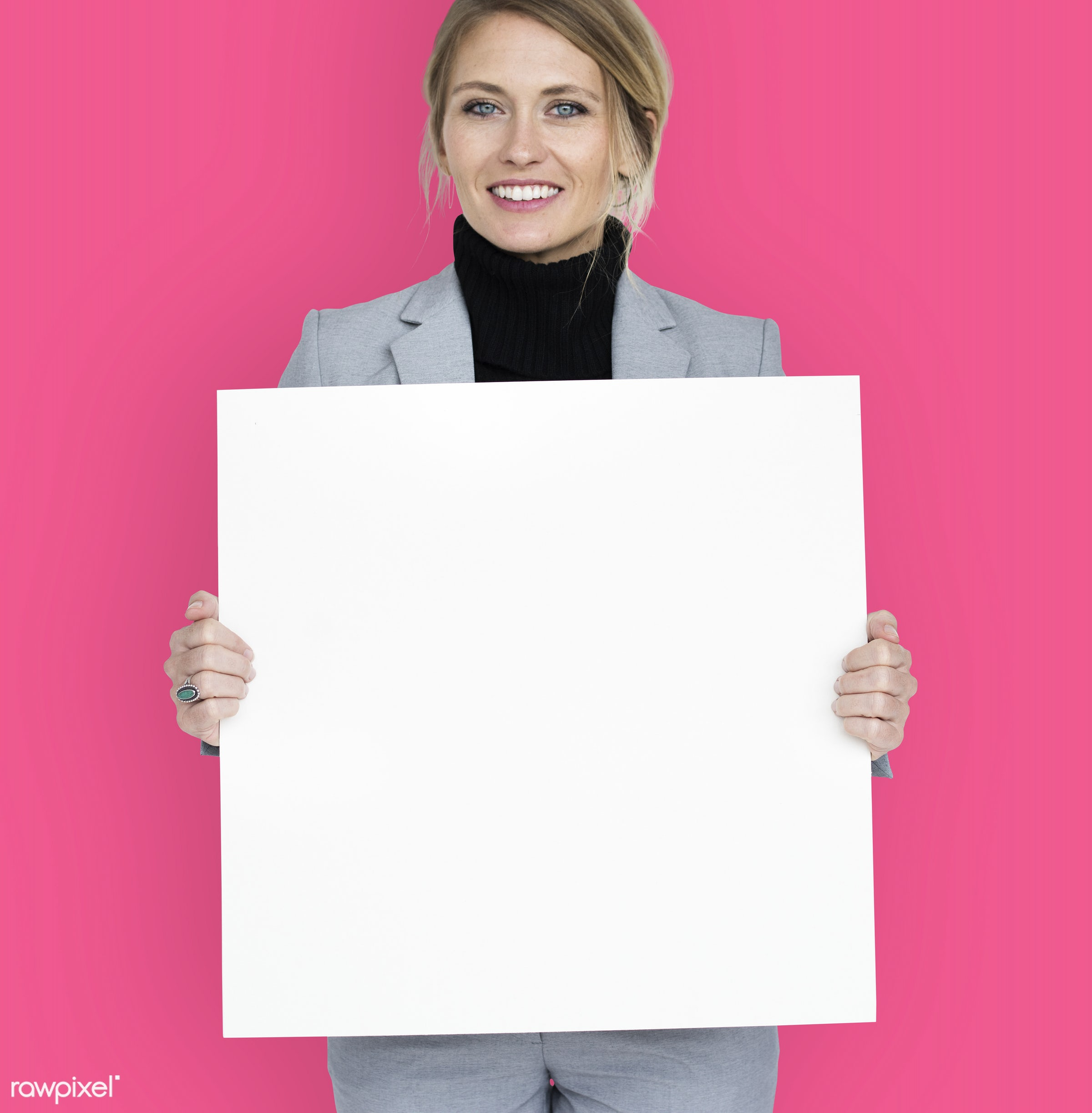 studio, expression, person, holding, people, placard, woman, pink, smile, cheerful, smiling, isolated, happiness,...