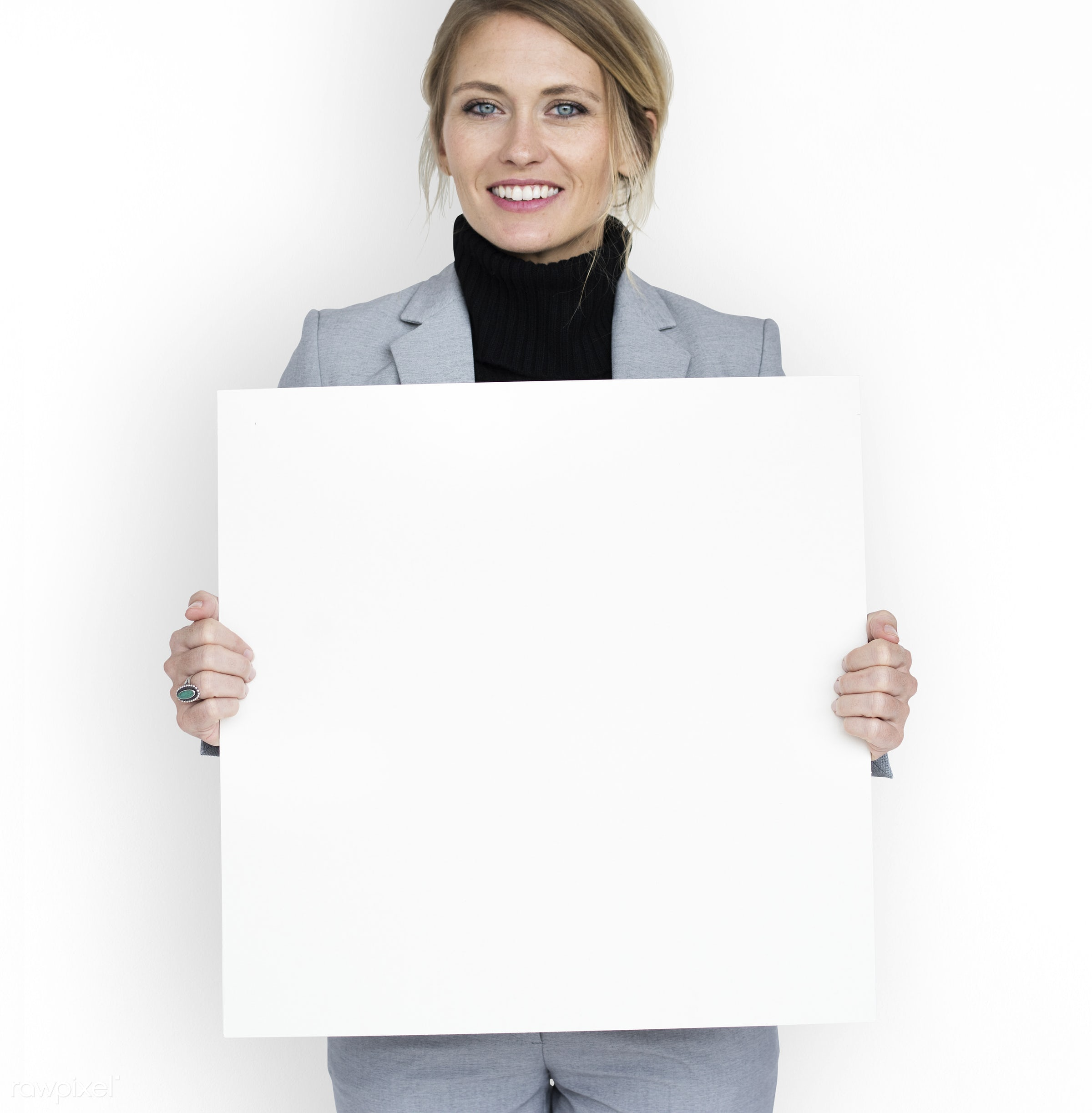 studio, expression, person, holding, people, placard, woman, smile, cheerful, smiling, isolated, white, happiness,...