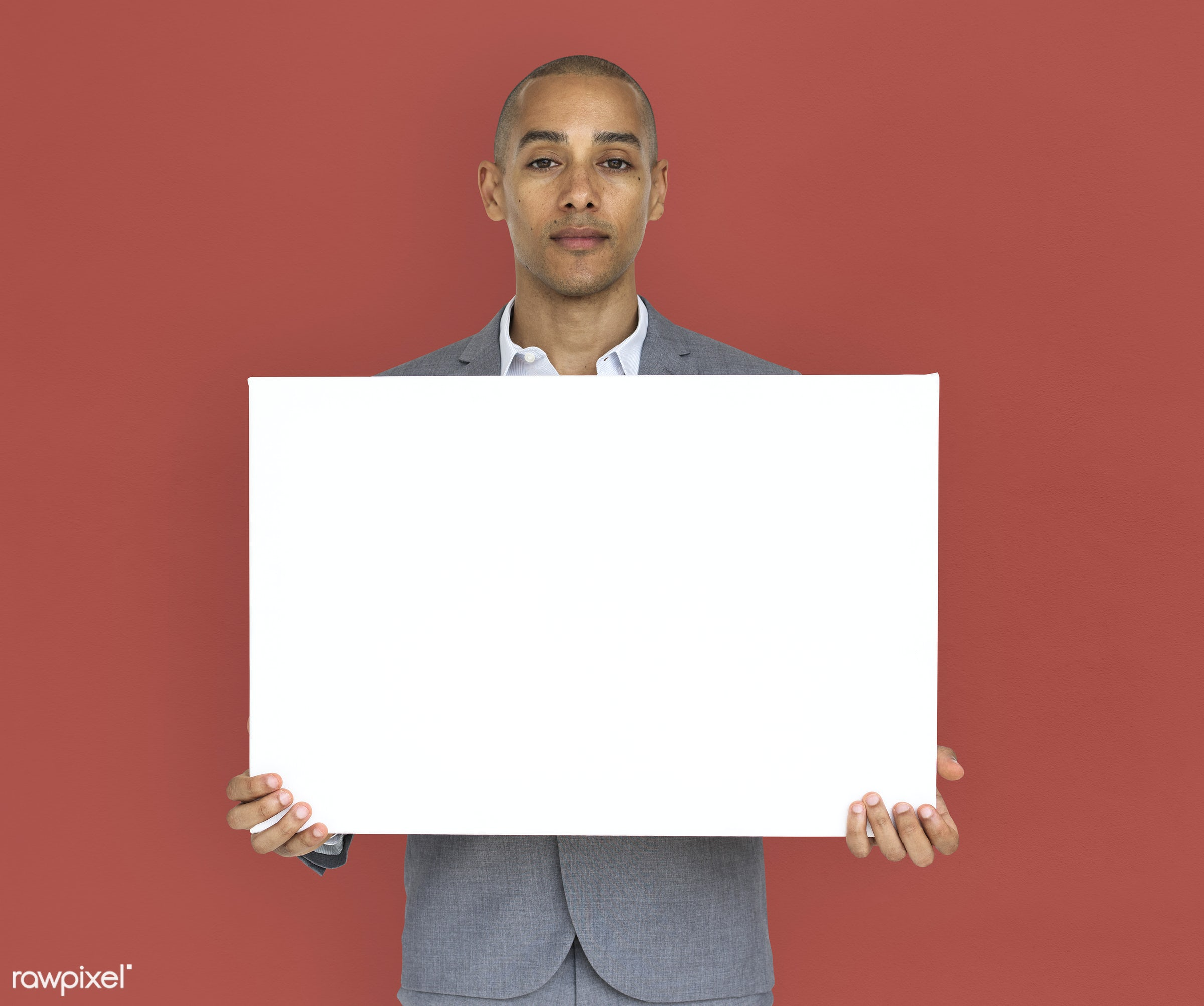 expression, studio, copy space, person, holding, people, business, placard, businessman, mixed race, man, banner, isolated,...