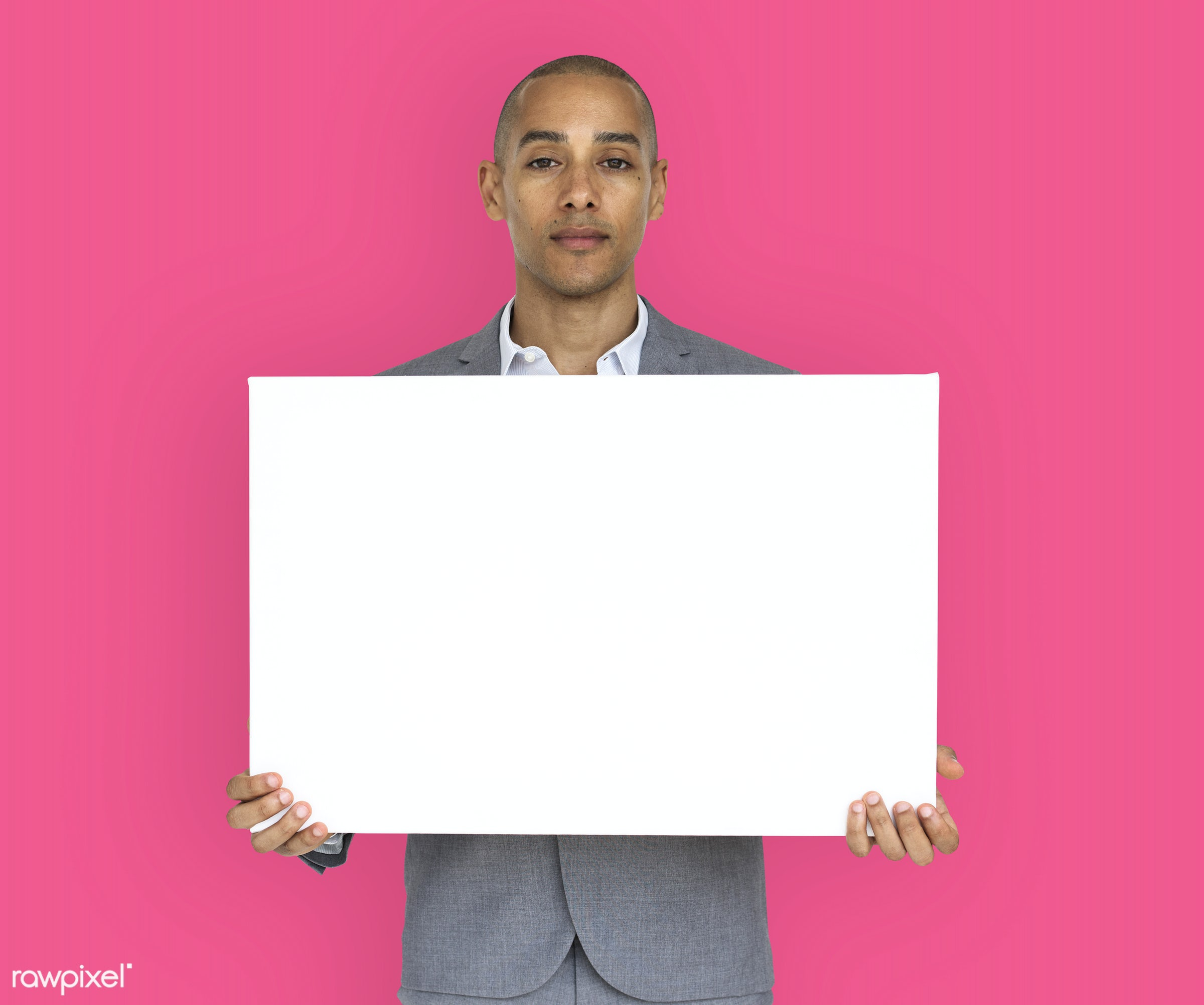 expression, studio, copy space, person, holding, people, business, placard, businessman, pink, mixed race, man, banner,...