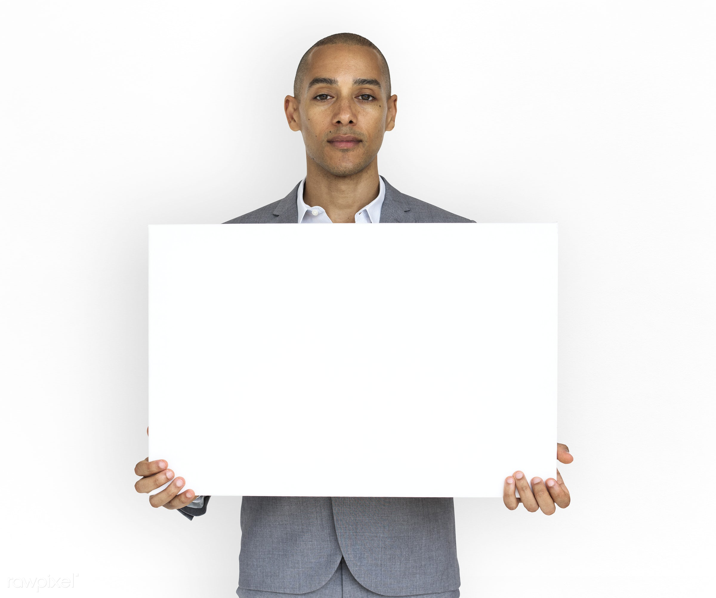 expression, studio, copy space, person, holding, isolated on white, people, business, placard, businessman, mixed race, man...