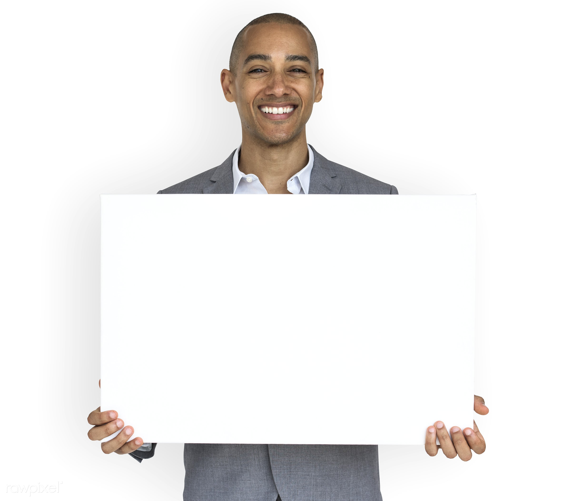 studio, expression, copy space, person, holding, joy, isolated on white, people, business, placard, businessman, happy,...
