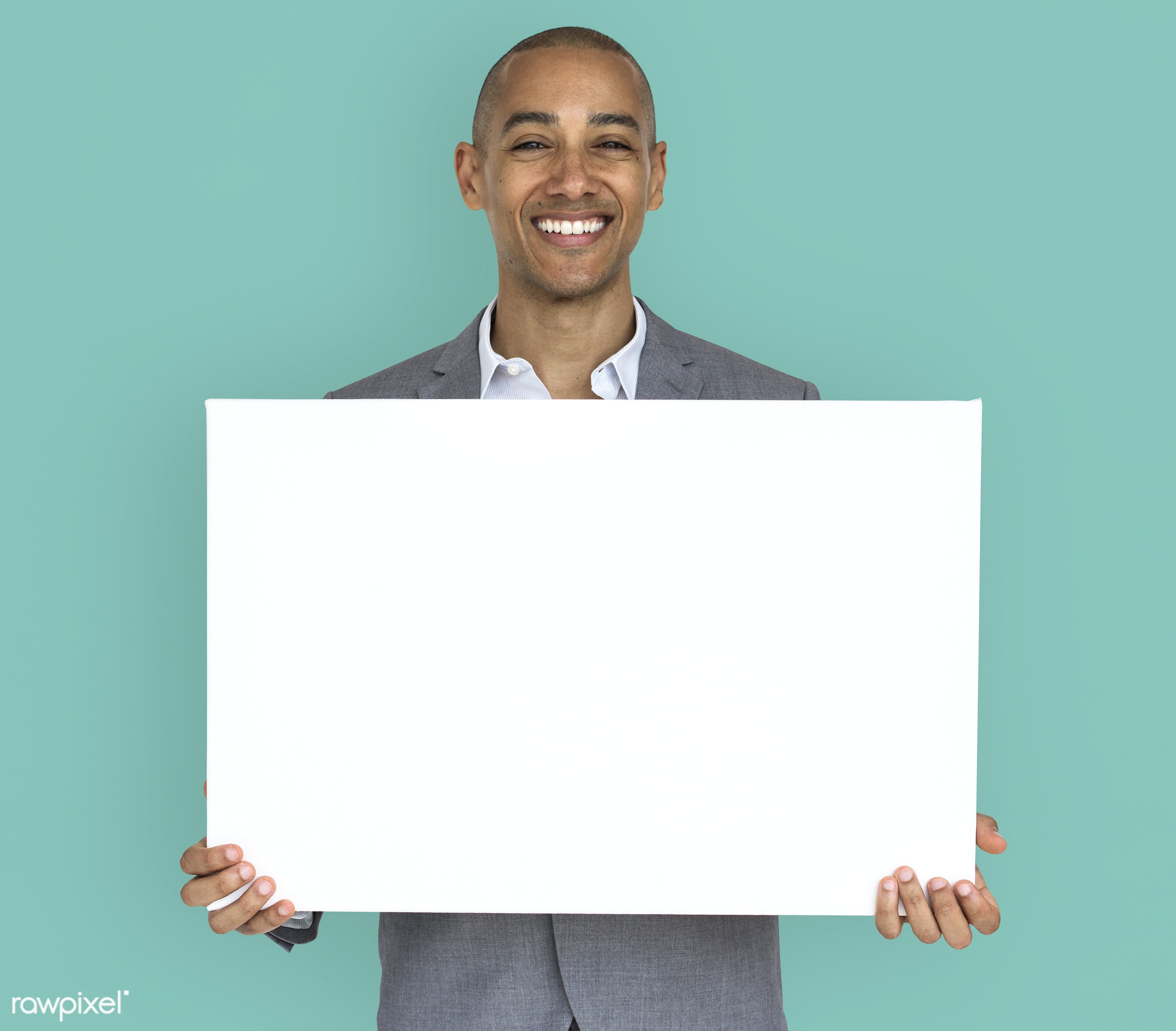 expression, studio, copy space, person, holding, joy, people, business, placard, businessman, happy, mixed race, smile,...