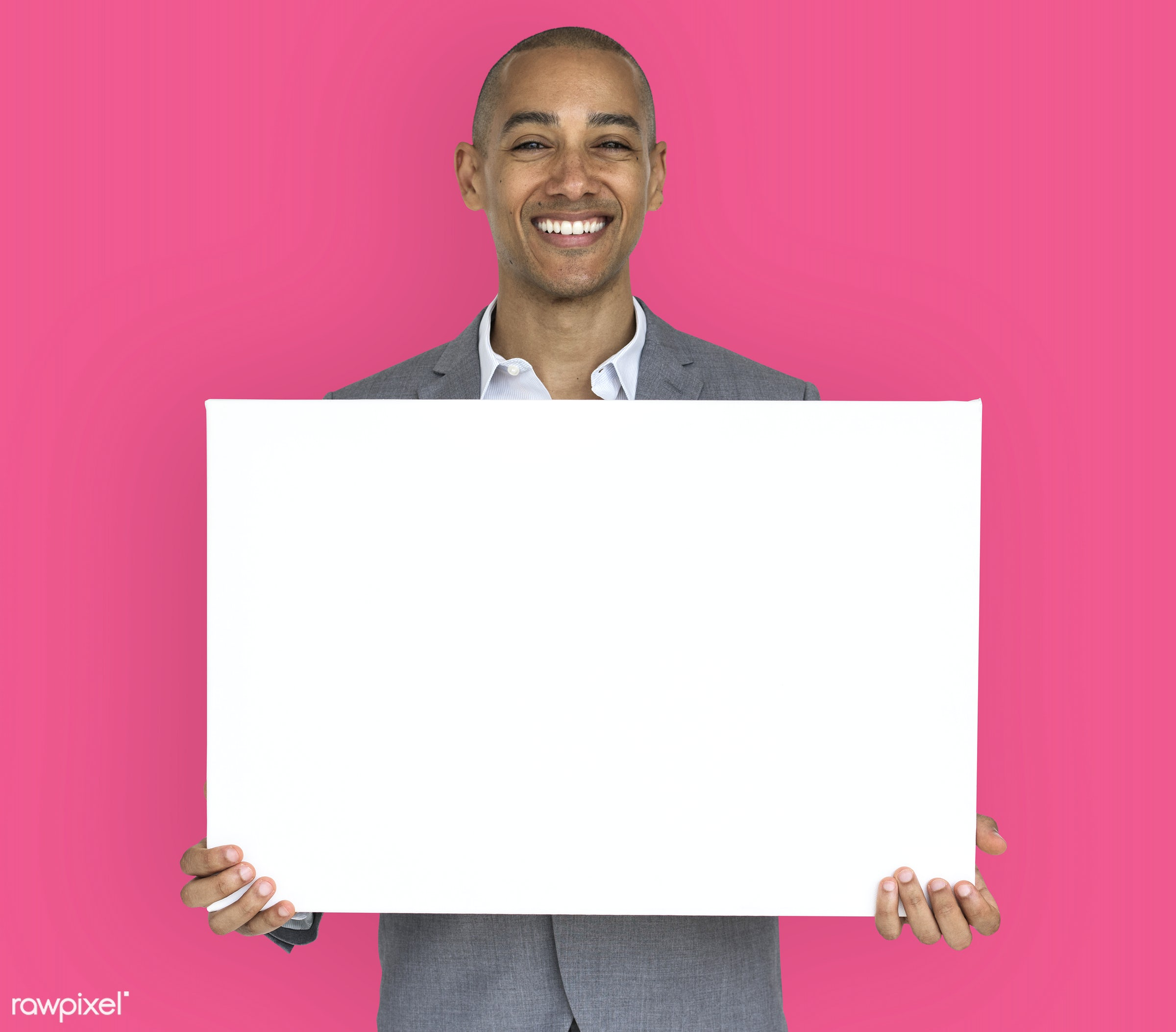 expression, studio, copy space, person, holding, joy, people, business, placard, businessman, happy, pink, mixed race, smile...