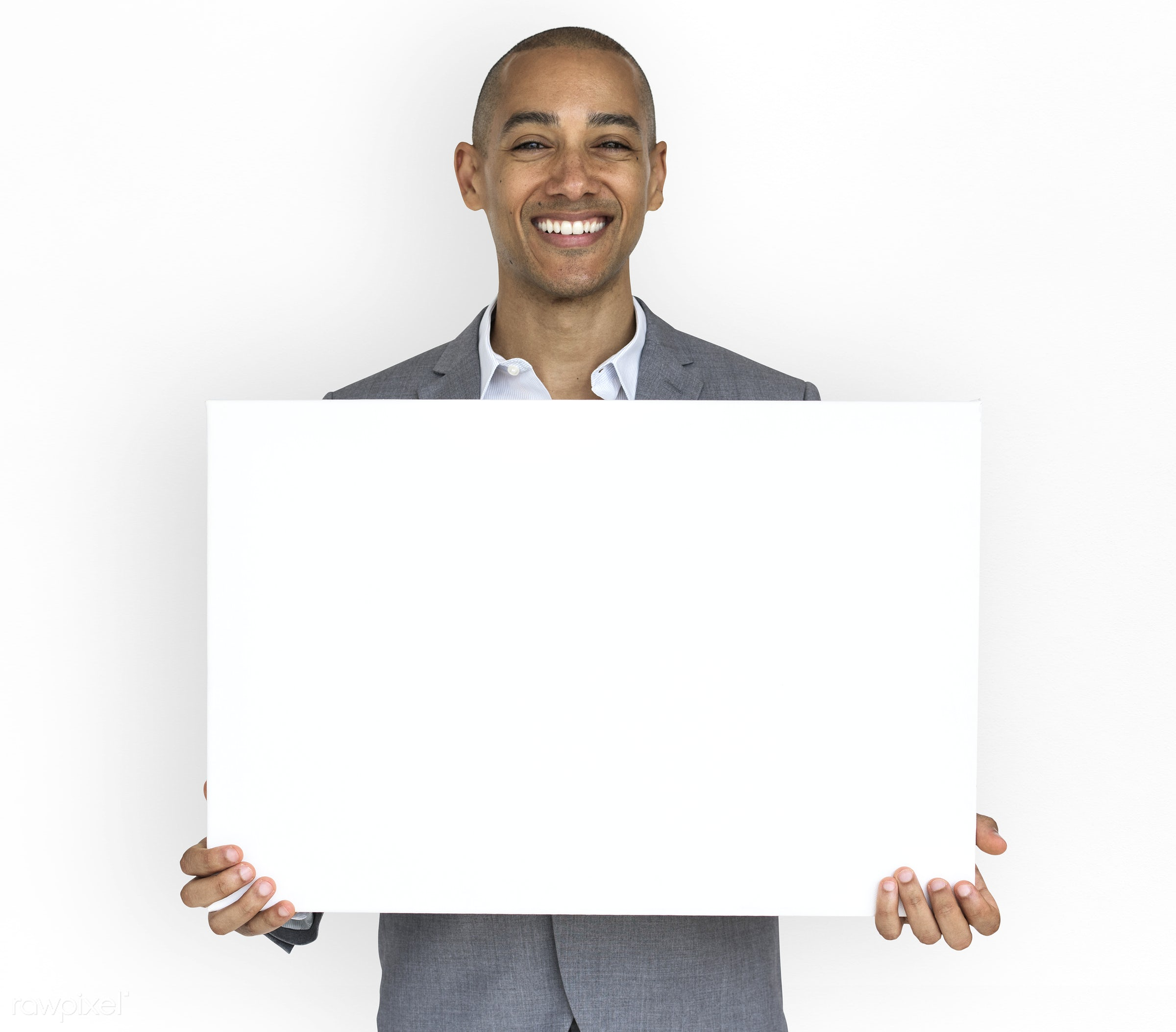 studio, expression, person, copy space, holding, joy, isolated on white, people, business, placard, businessman, happy,...