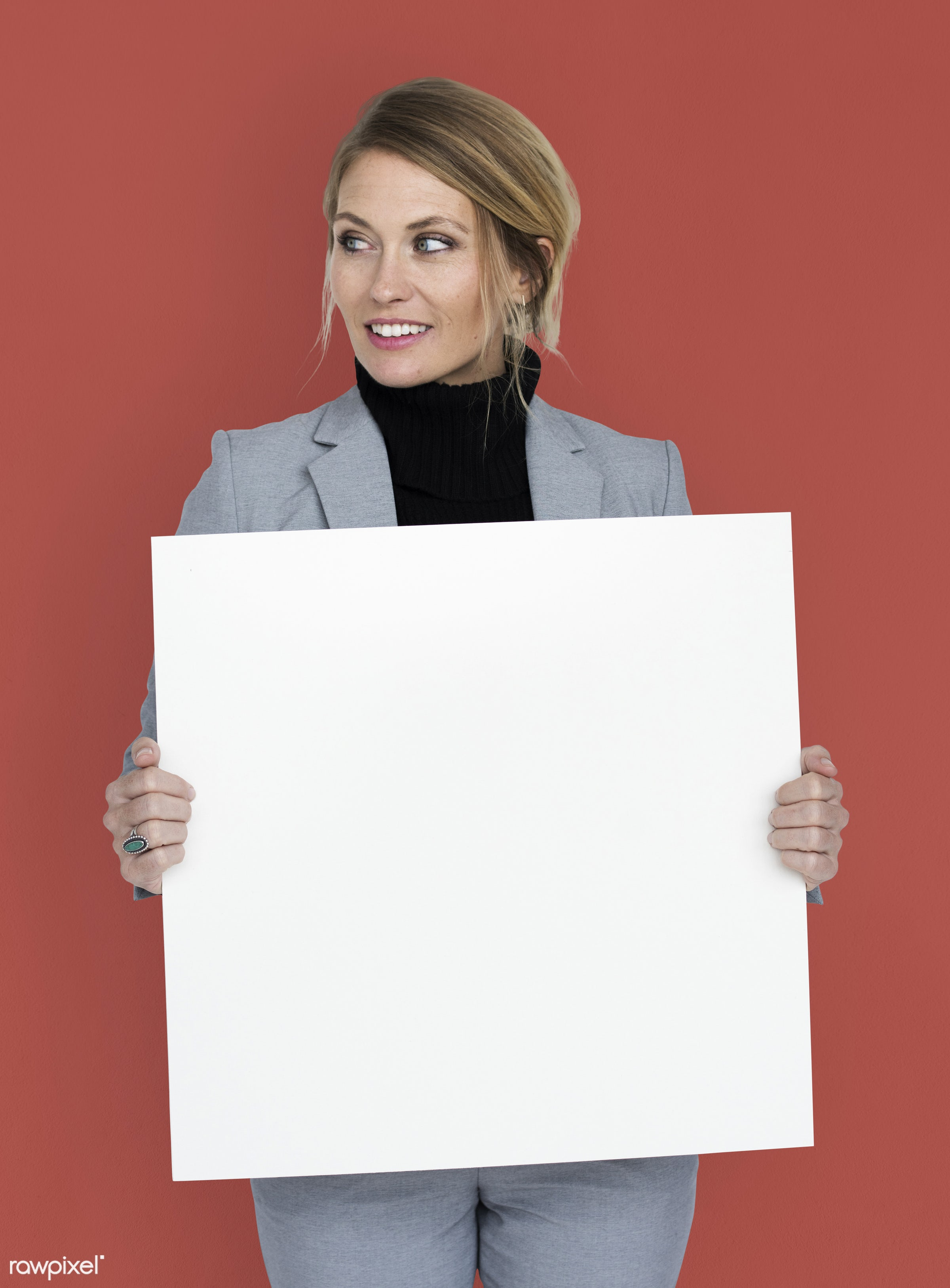 studio, expression, person, holding, people, placard, woman, smile, cheerful, smiling, orange, isolated, happiness,...
