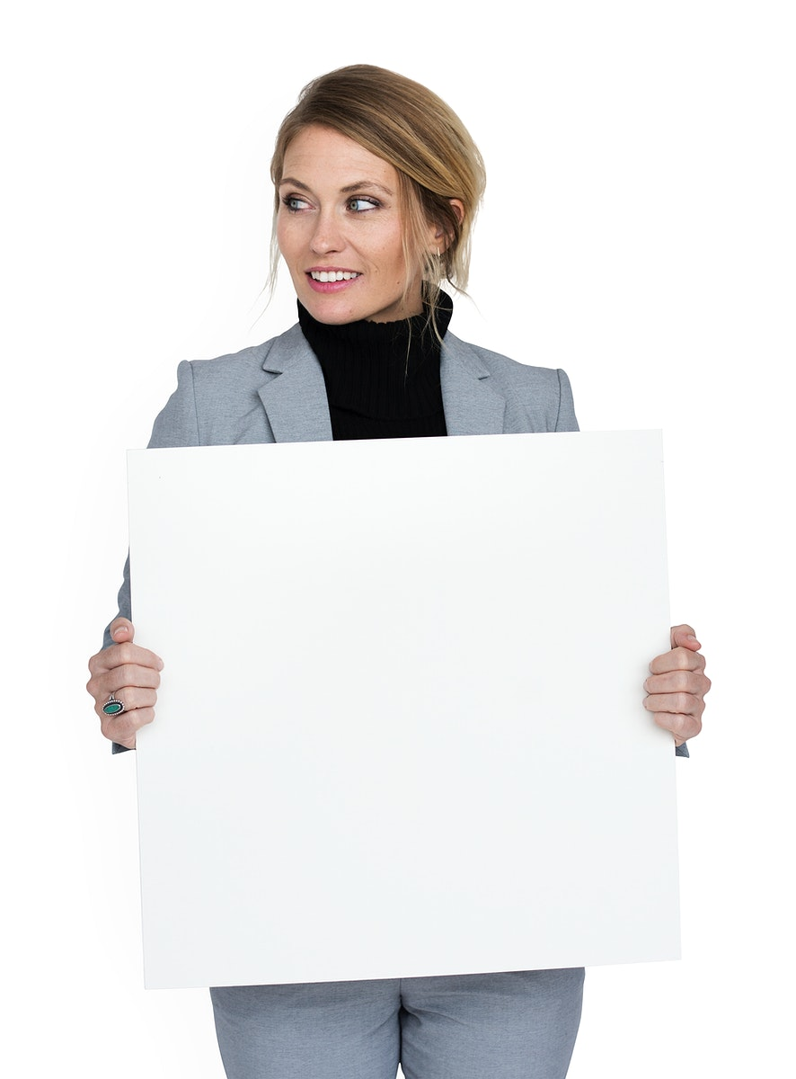 Businesswoman Smiling Happiness Holding Placard Copy Space Concept