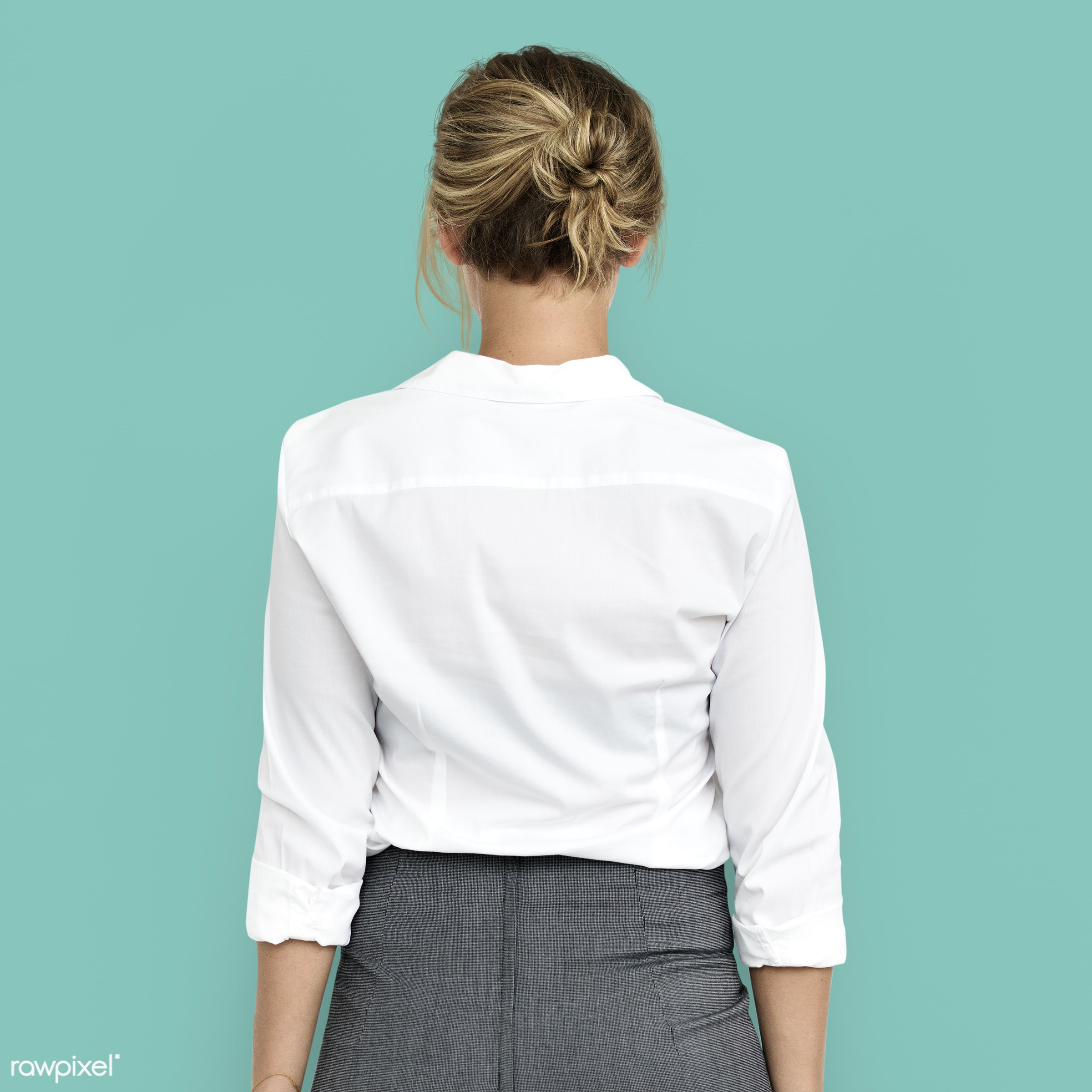 back, back shot, back view, background, blonde, business, business dress, business woman, expression, female, girl, isolated...