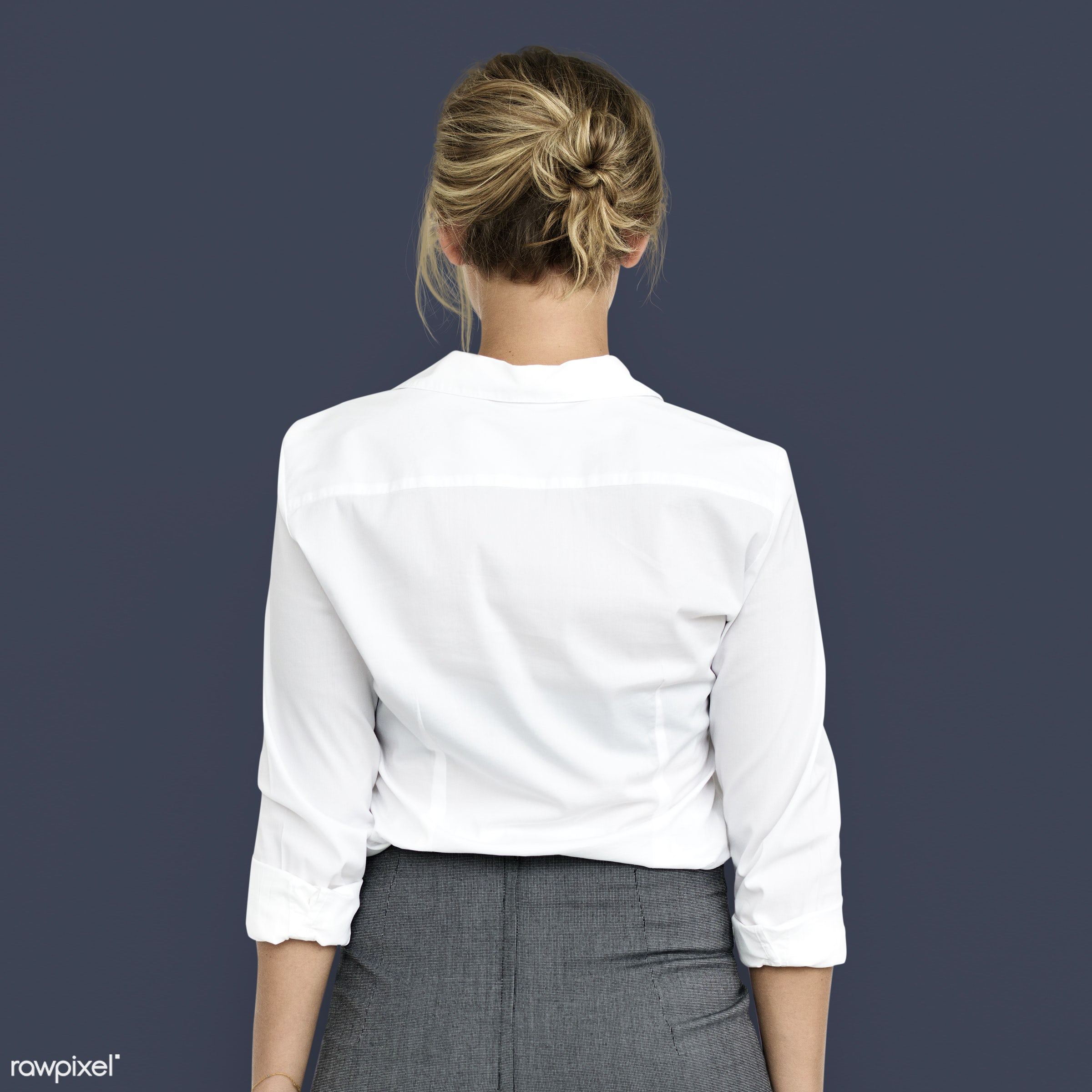 expression, studio, person, people, business, caucasian, girl, woman, back shot, back view, isolated, business dress, white...