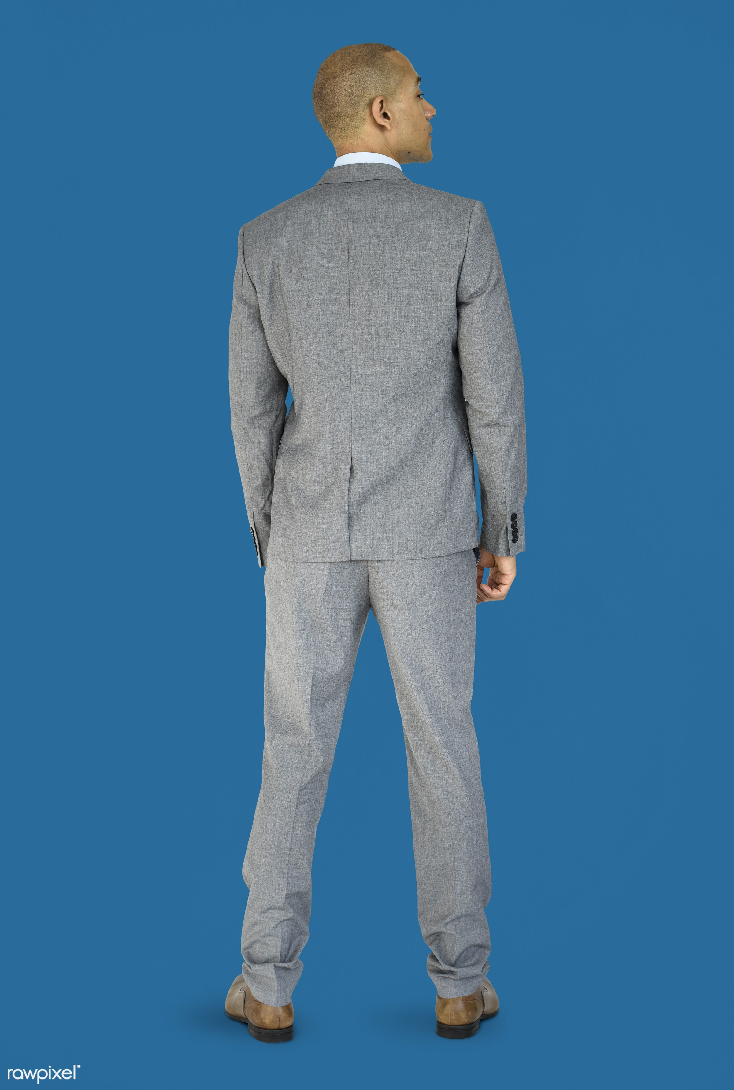 studio, person, people, business, businessman, man, abstract, rear view, isolated, male, adult, portrait, formal, blue,...