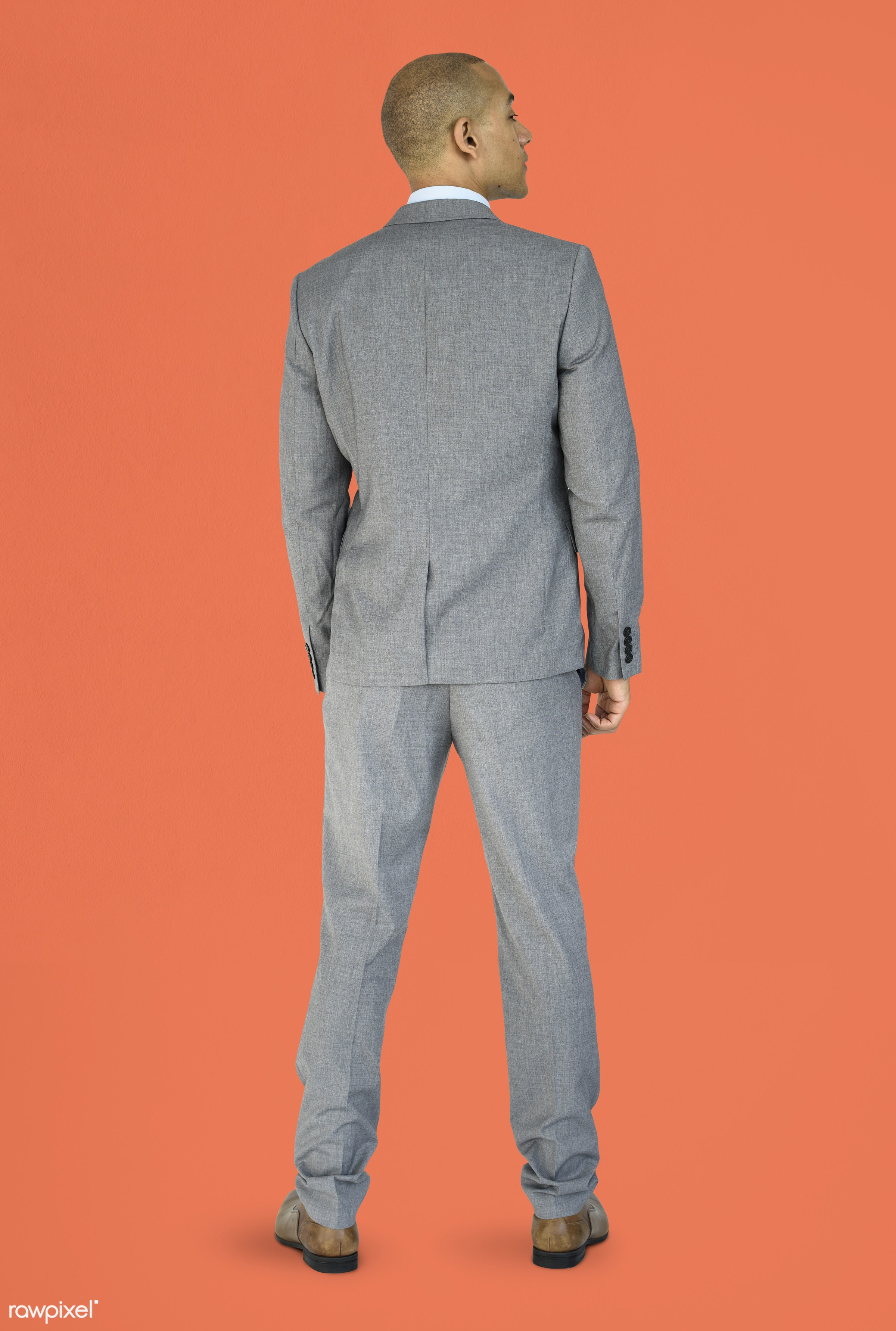 studio, person, people, business, businessman, man, abstract, rear view, isolated, orange, male, adult, portrait, formal,...