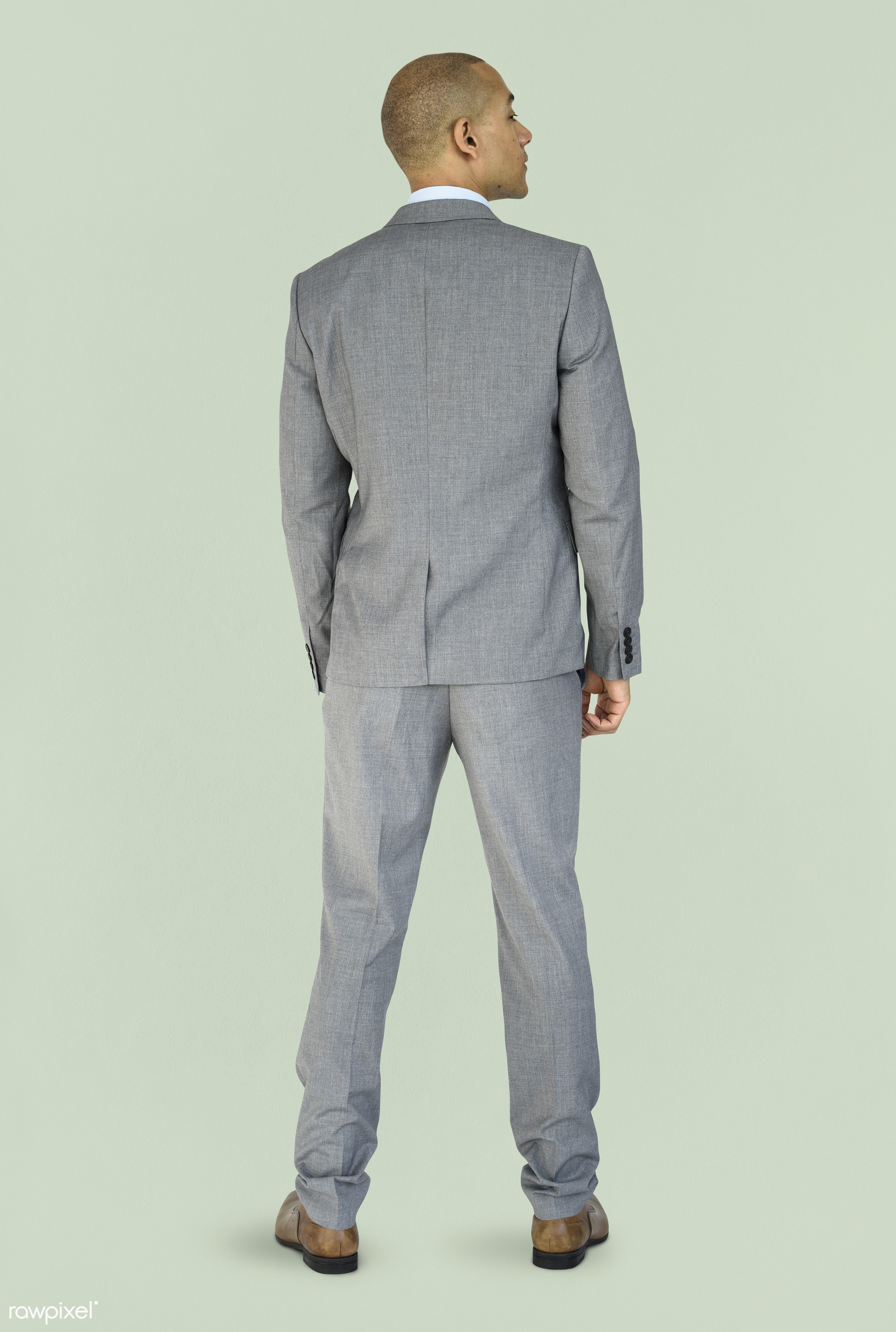 studio, person, people, business, businessman, man, abstract, rear view, isolated, green, male, adult, portrait, formal,...