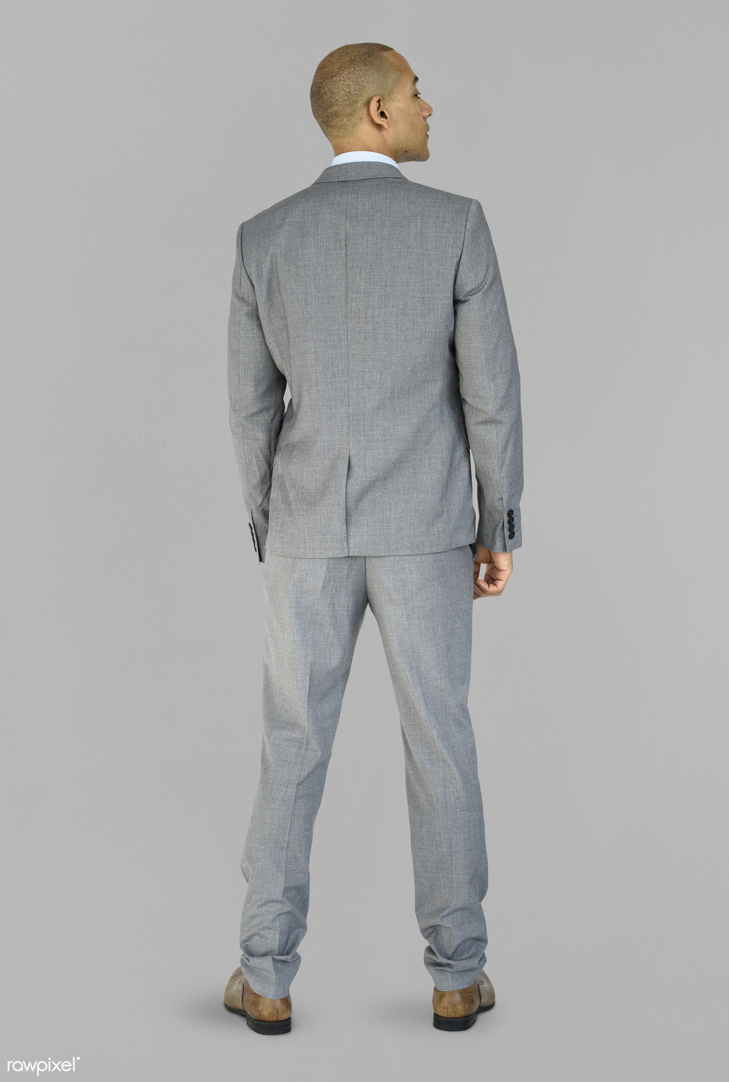 studio, person, people, business, businessman, grey, man, abstract, rear view, isolated, male, adult, portrait, formal,...