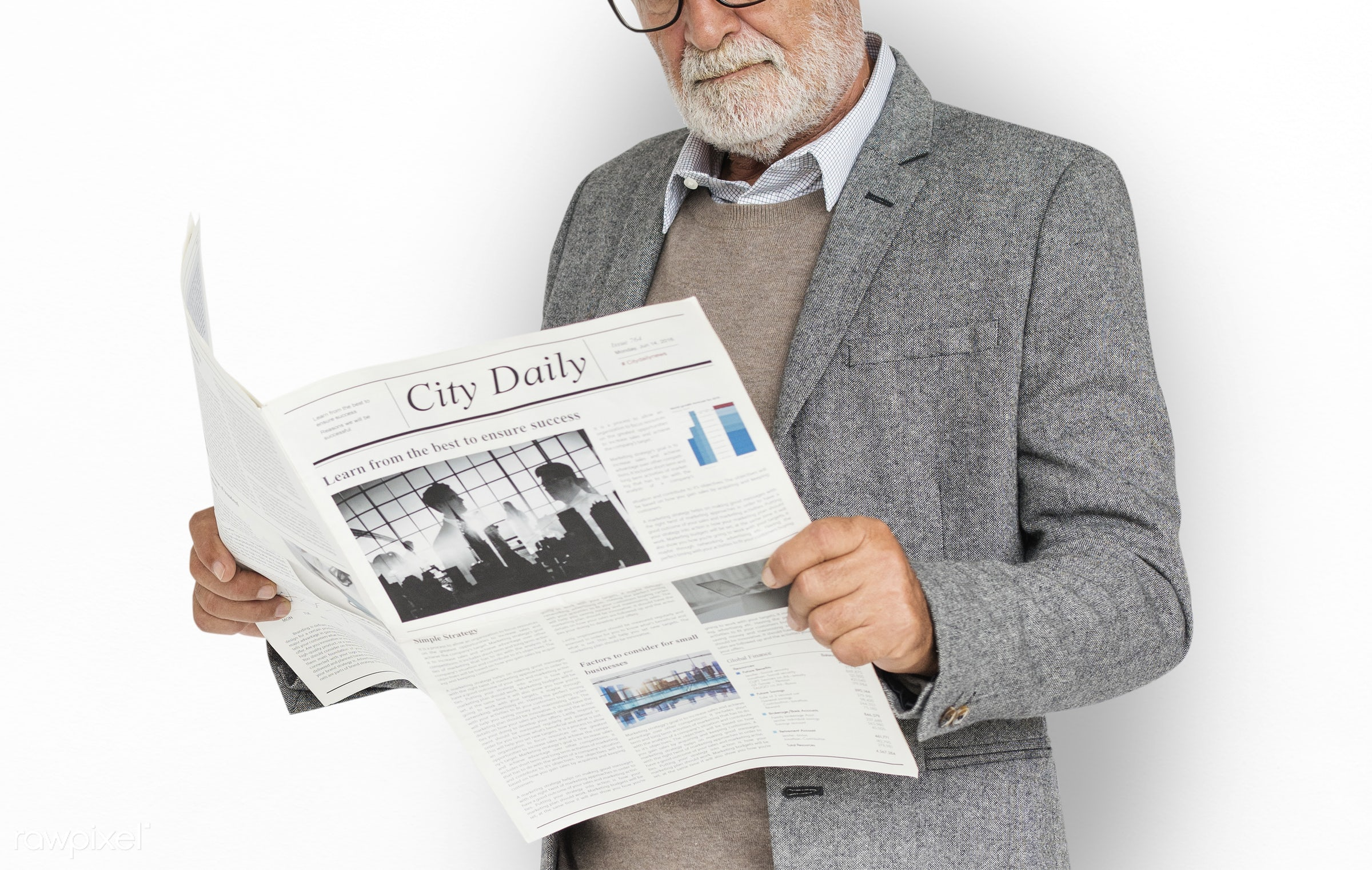 expression, studio, old, person, reading, business newspaper, business wear, business dressing, formal dressing, people,...