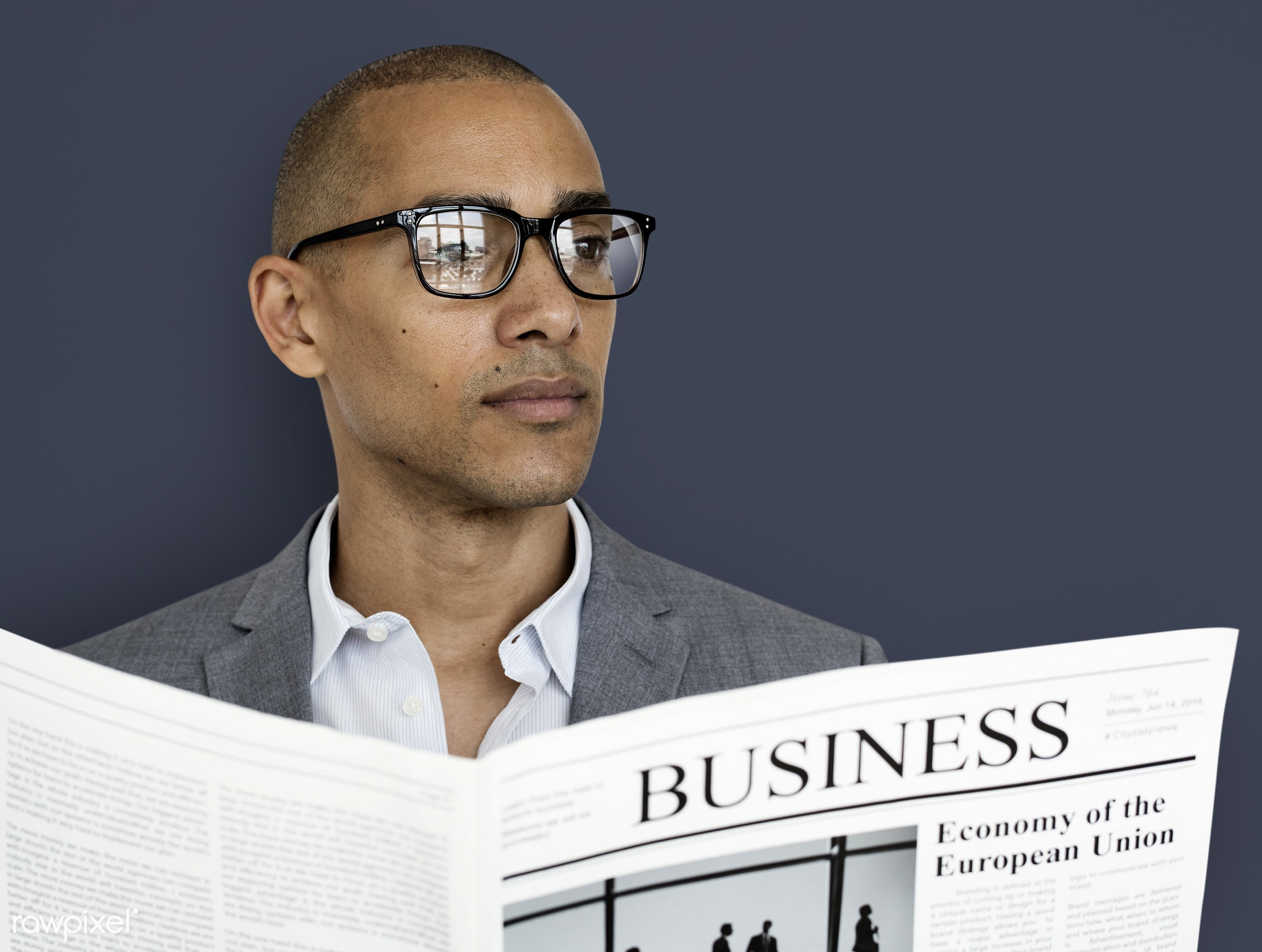 studio, expression, reading, person, business newspaper, business wear, business dressing, formal dressing, people, business...