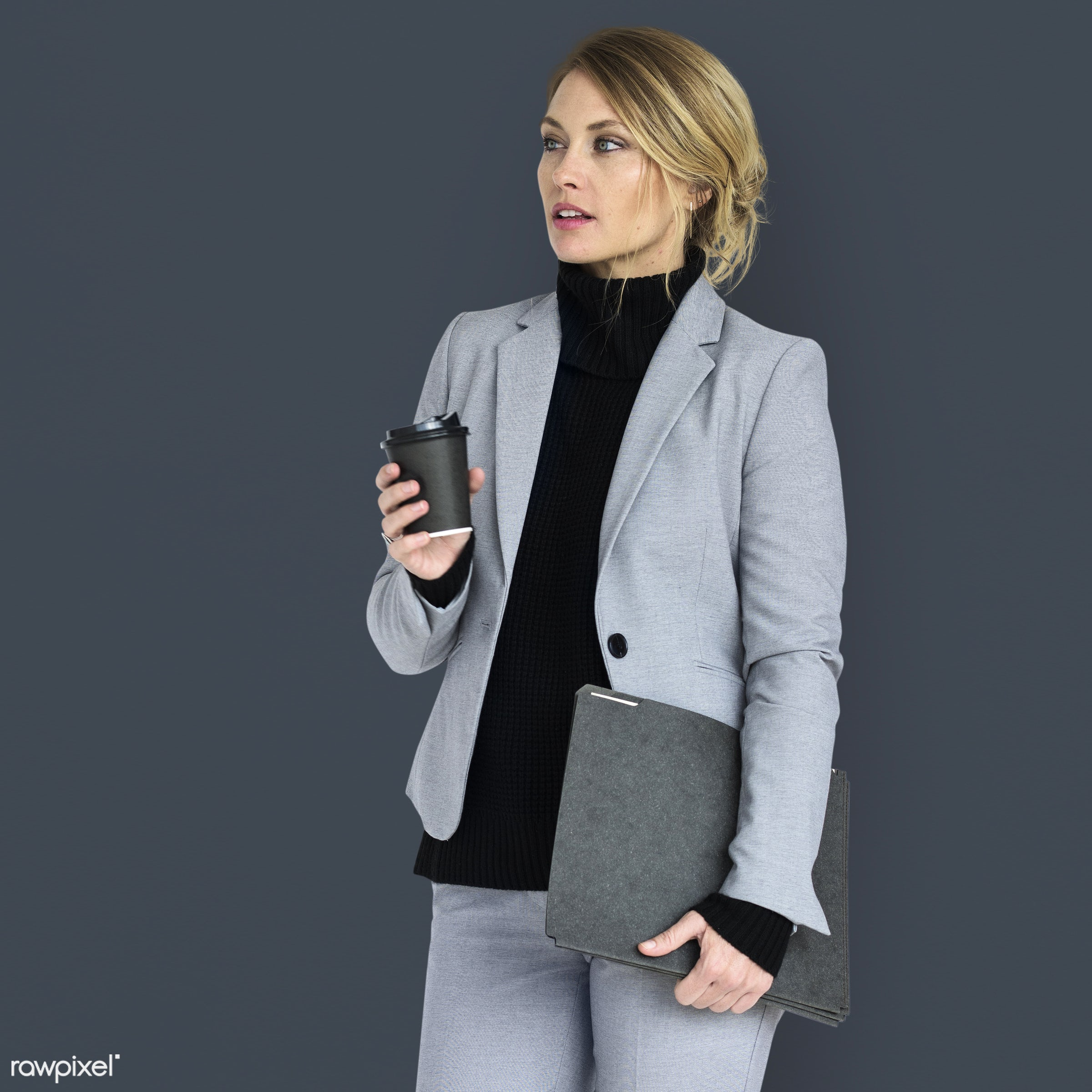 expression, studio, person, folders, people, formal dressing, business, caucasian, girl, woman, work, isolated, formal wear...