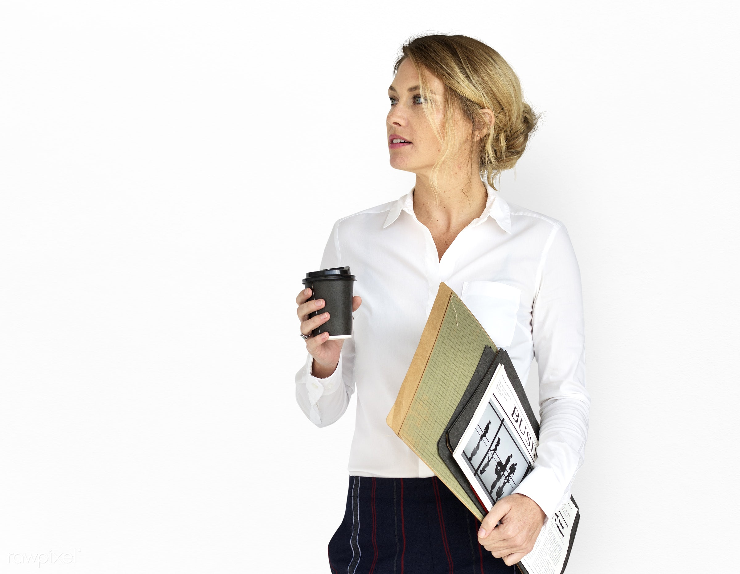 adult, background, blonde, business, business documents, caucasian, coffee, documents, expression, female, folders, formal,...