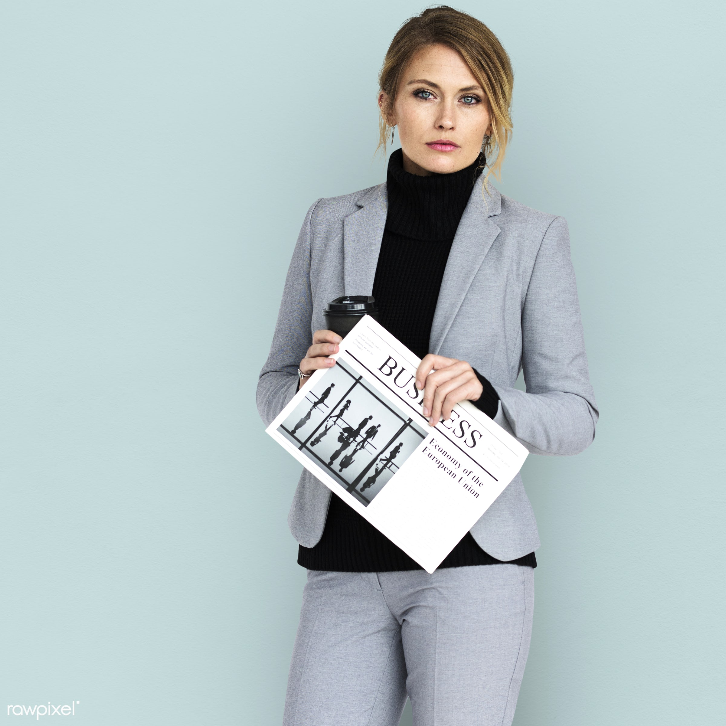 expression, studio, person, business newspaper, people, formal dressing, business, caucasian, girl, woman, work, isolated,...