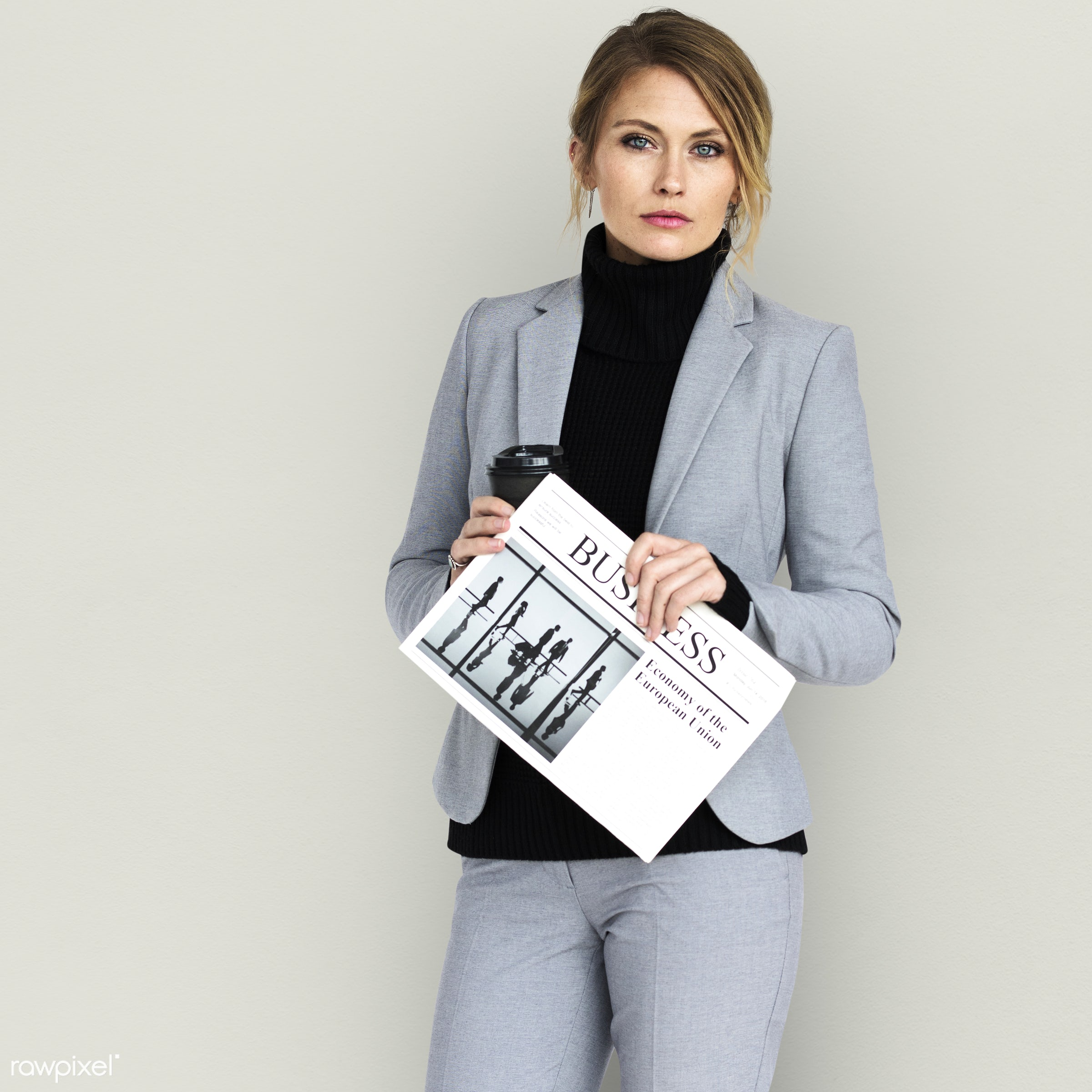 adult, background, blonde, business, business newspaper, caucasian, coffee, expression, female, formal, formal dressing,...