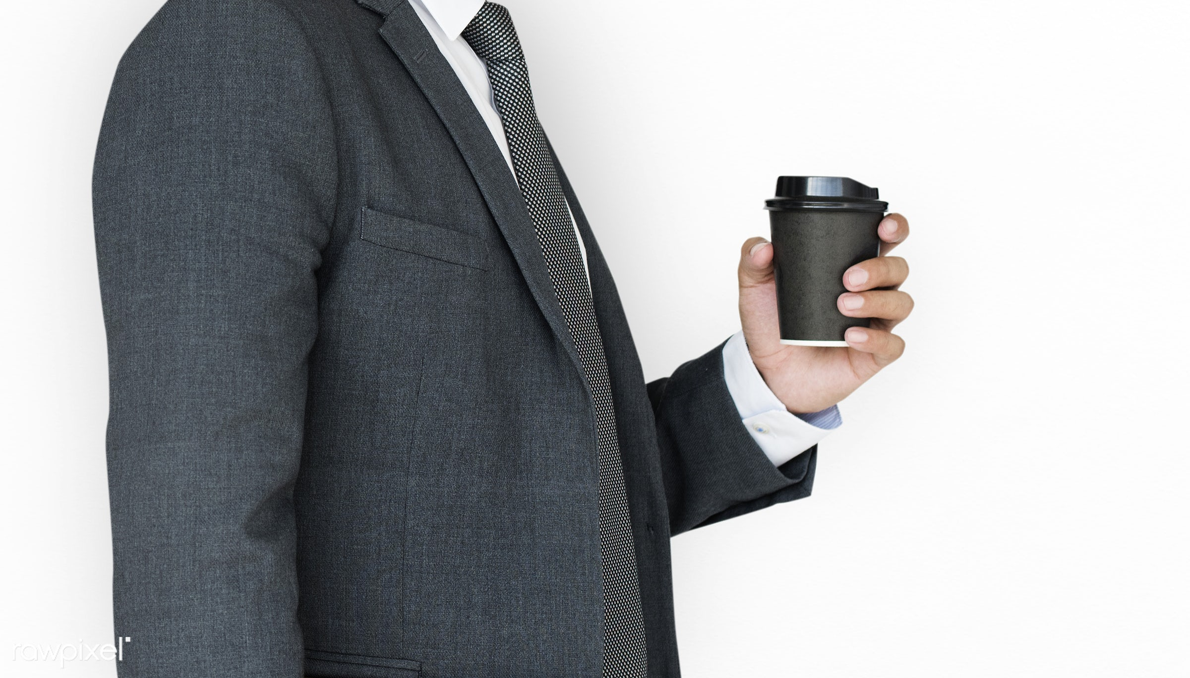 expression, cup, studio, person, business wear, isolated on white, side view, tea, people, formal dressing, business, side,...