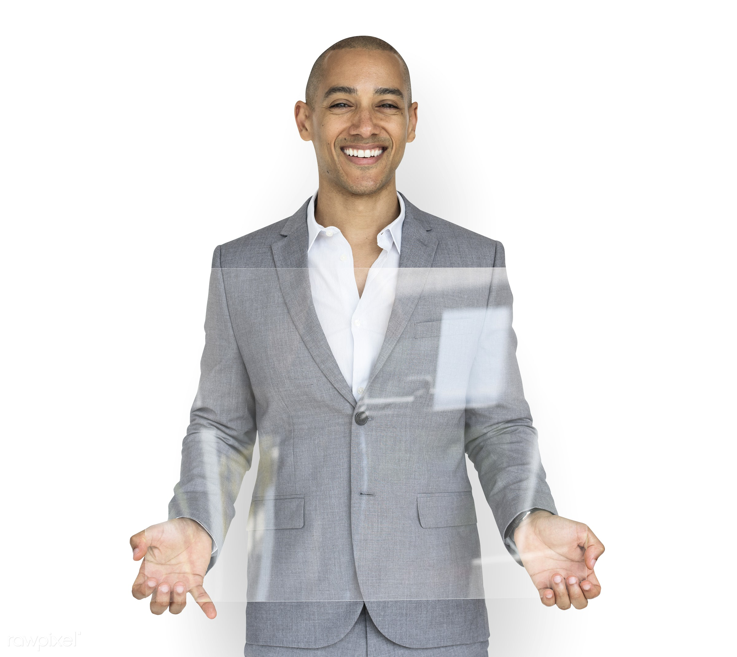 expression, studio, copy space, person, holding, joy, isolated on white, people, business, clear, placard, businessman,...