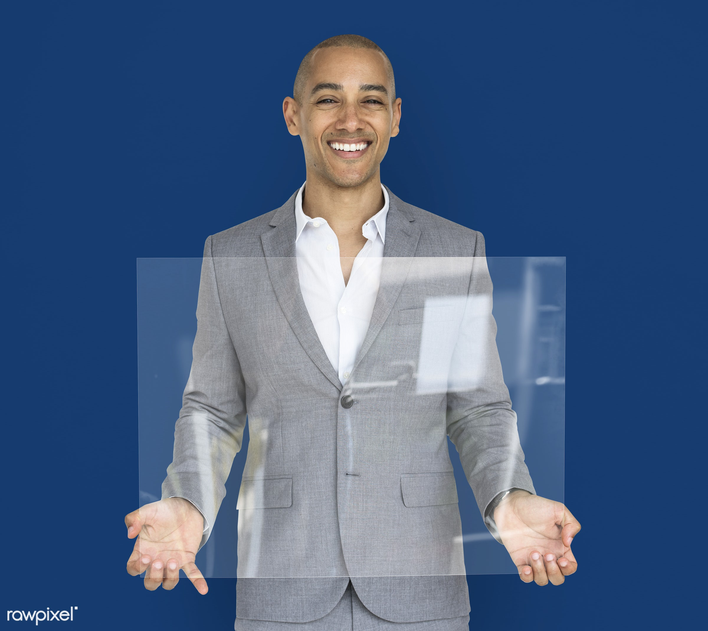 studio, expression, copy space, person, holding, joy, people, business, clear, placard, businessman, happy, mixed race,...