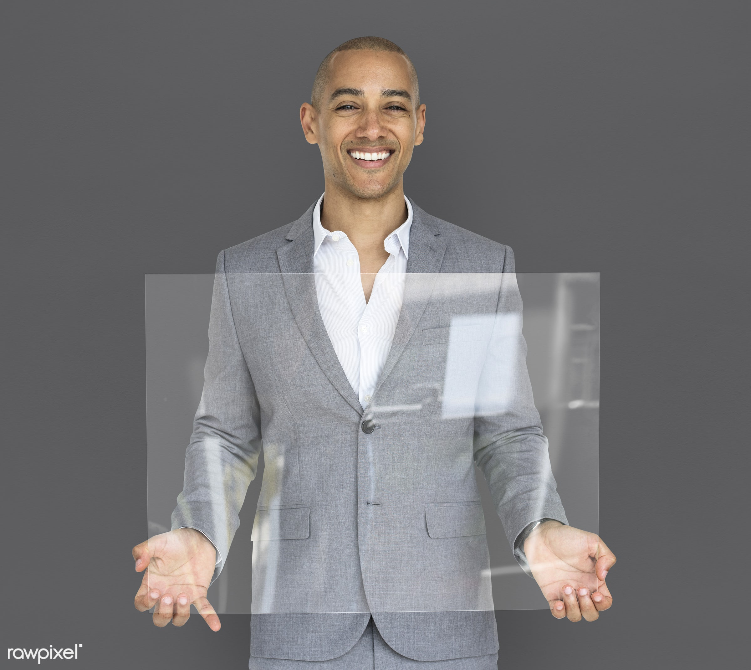 studio, expression, copy space, person, holding, joy, people, business, clear, placard, businessman, happy, grey, mixed race...