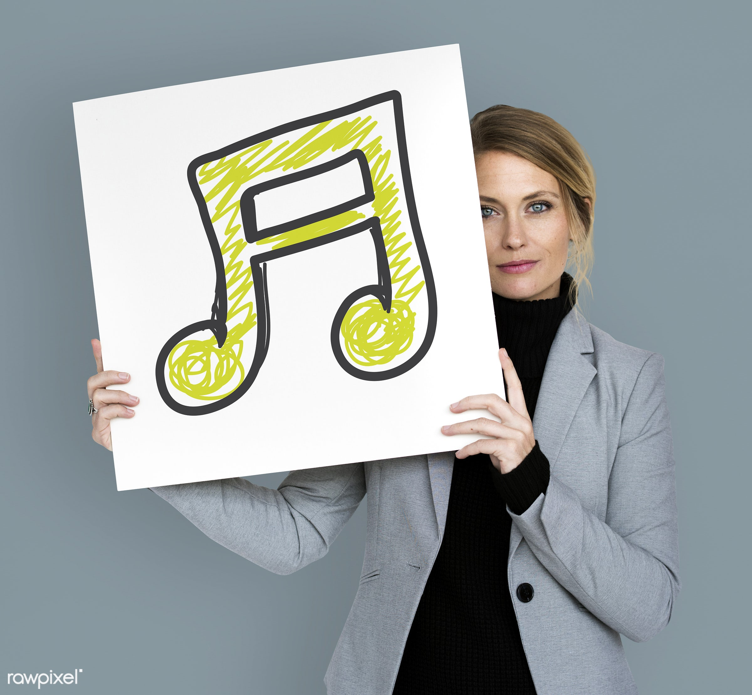 studio, expression, person, emblem, holding, people, caucasian, placard, music note, woman, smile, smiling, formal attire,...