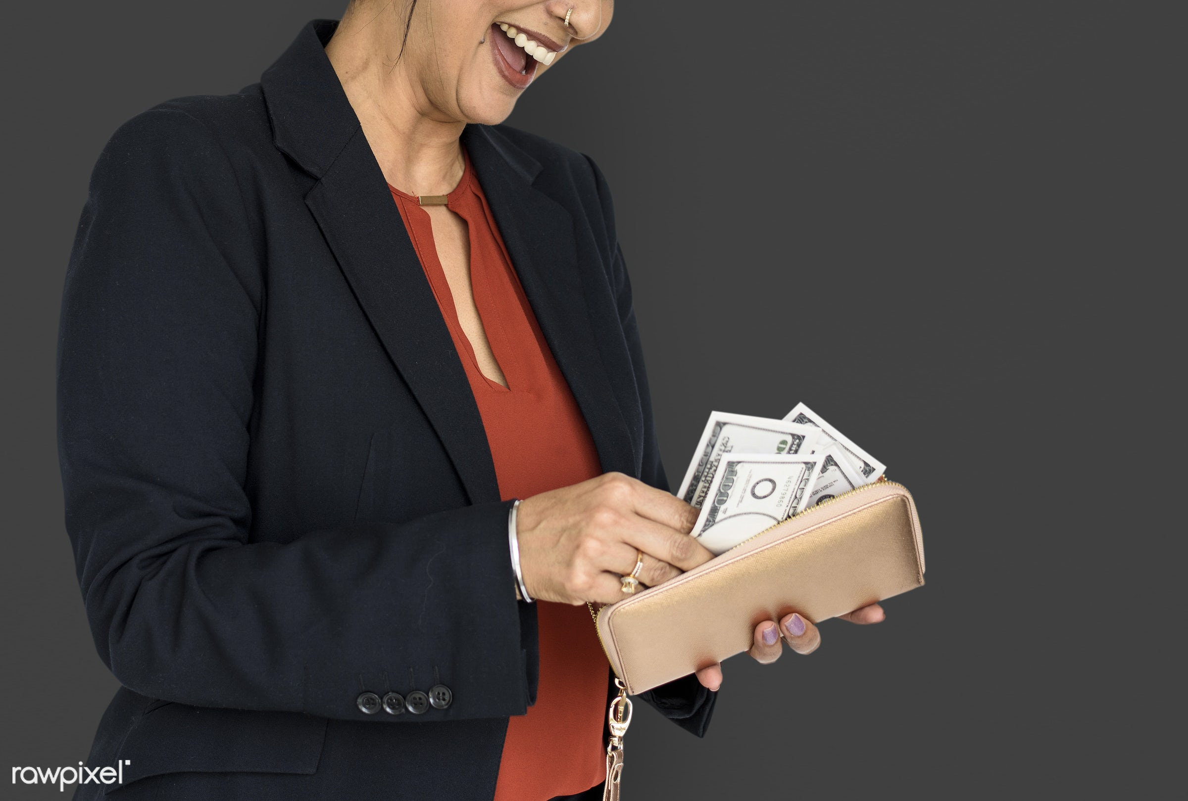 studio, expression, person, business wear, formal dressing, people, wallet, business, girl, woman, happy, money, smile,...