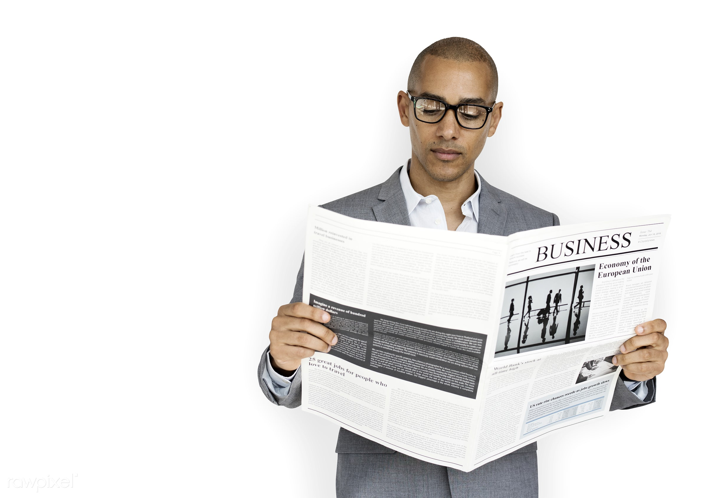 isolated on white, black, african, man, reading, read, paper, newspaper, glasses, african american