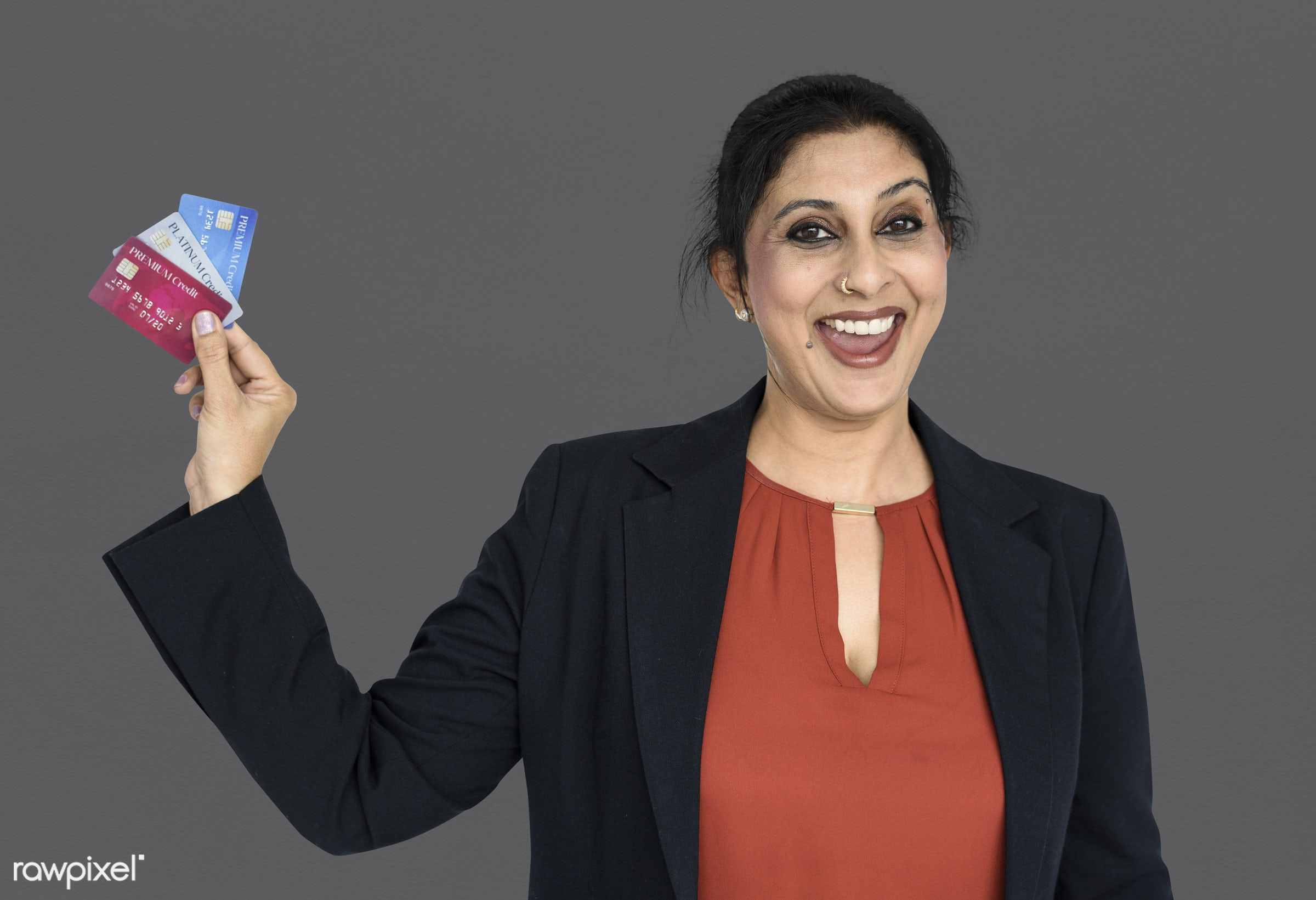 expression, studio, person, credit cards, people, asian, girl, woman, happy, smile, credit, cheerful, smiling, cards,...