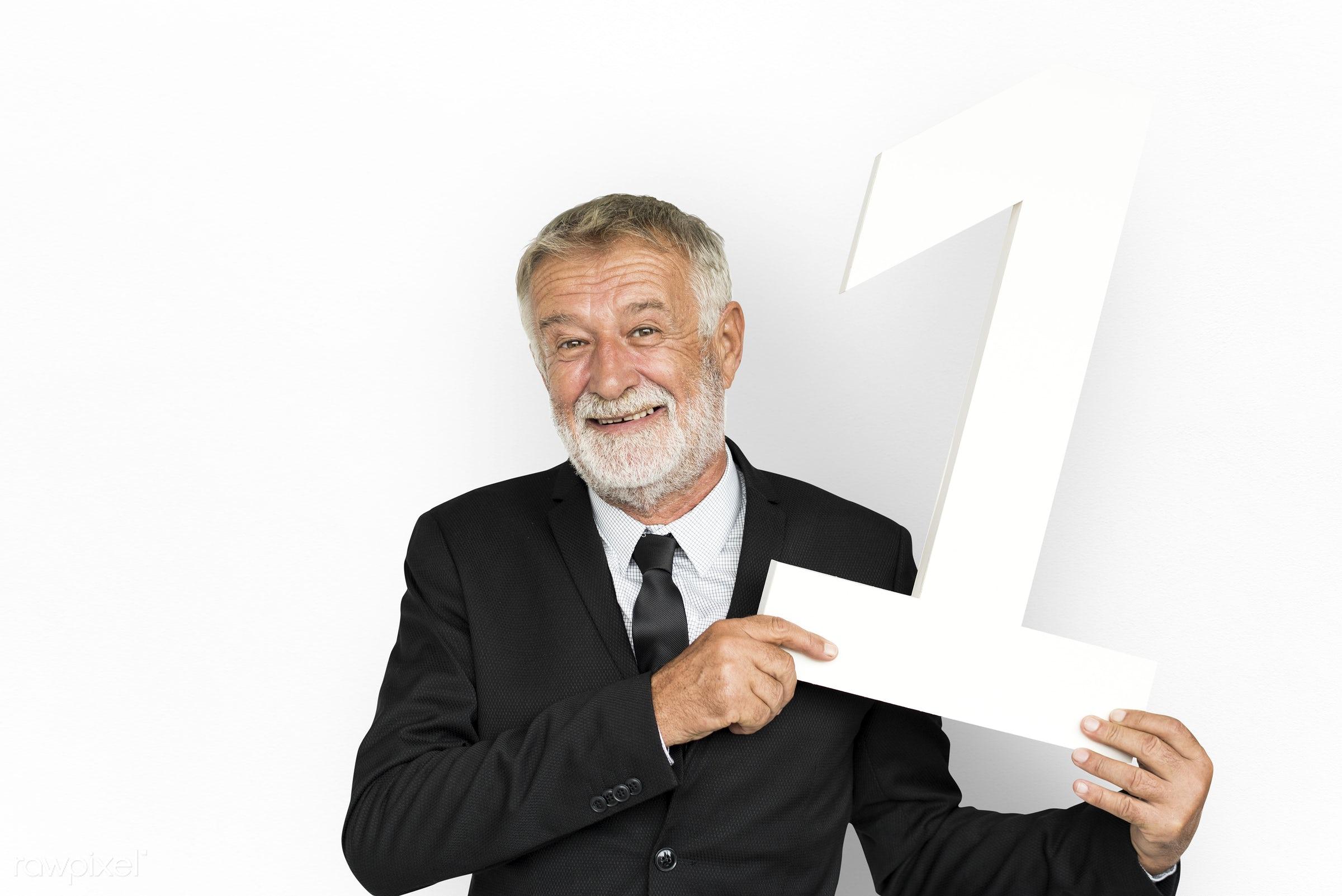 isolated on white, senior, one, number one, elderly, happy, prop, man, number, smile, smiling, holding, business, hold,...
