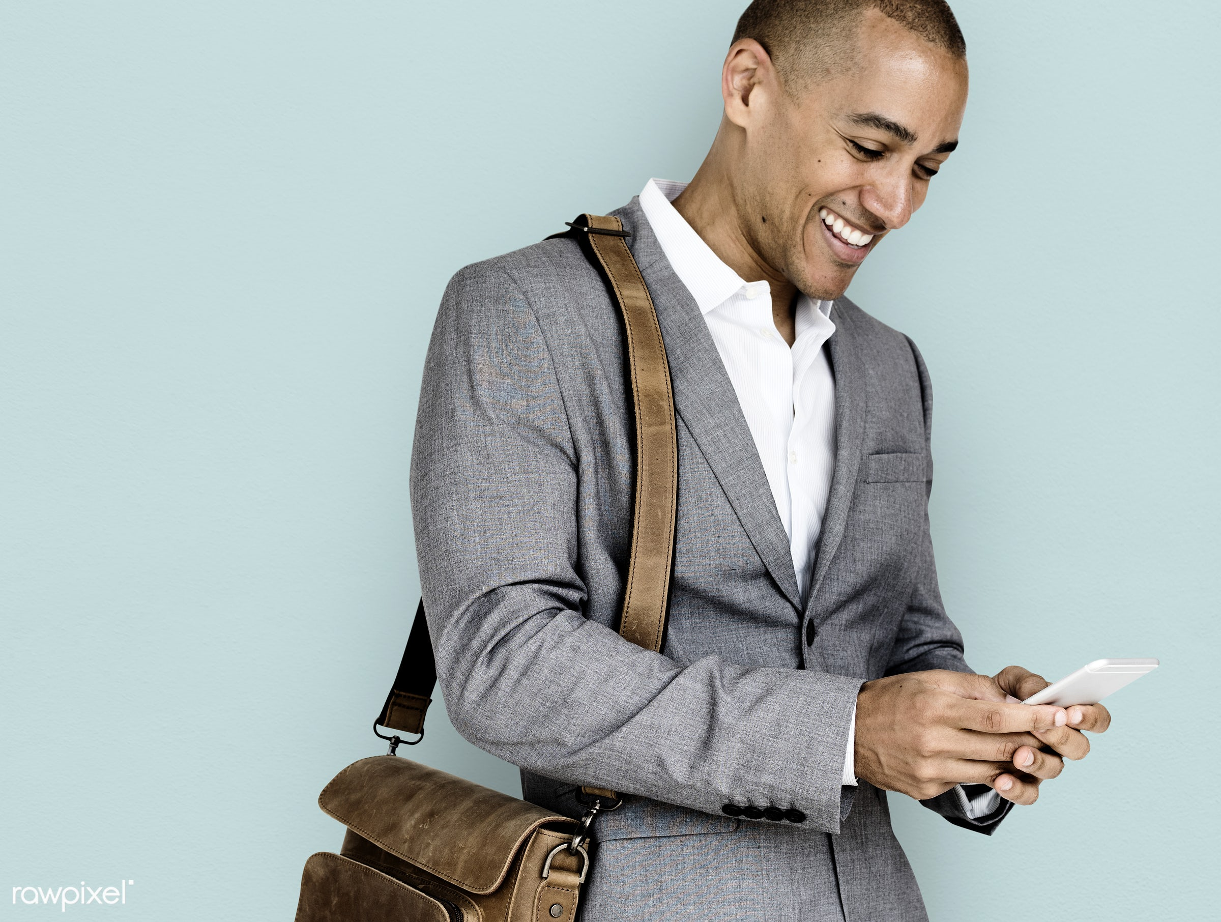 expression, studio, person, phone, business wear, messenger bag, joy, people, joyous, happy, messaging, smile, cheerful,...