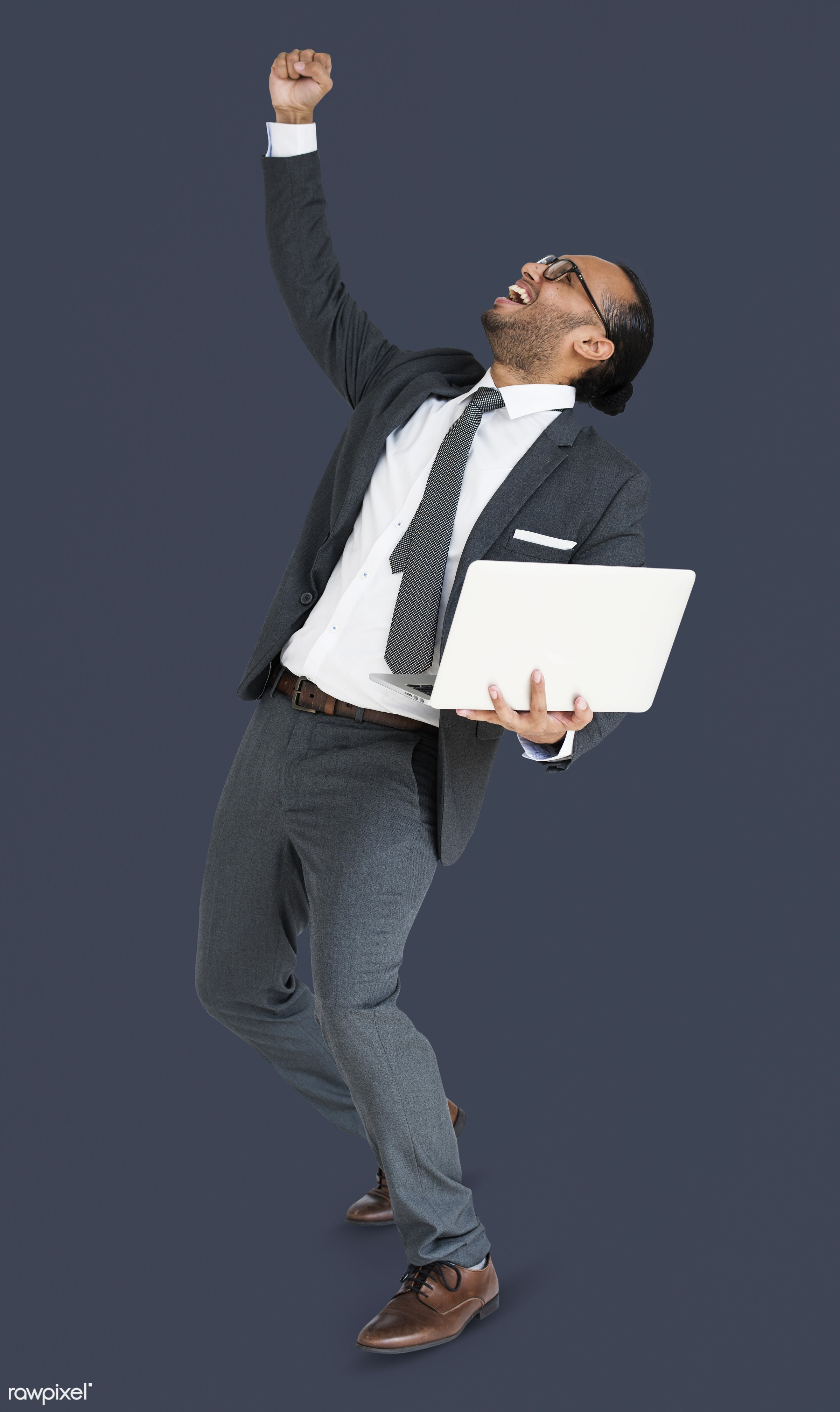 expression, studio, person, business wear, achieve, people, asian, happy, laptop, smile, cheerful, smiling, man, formal...