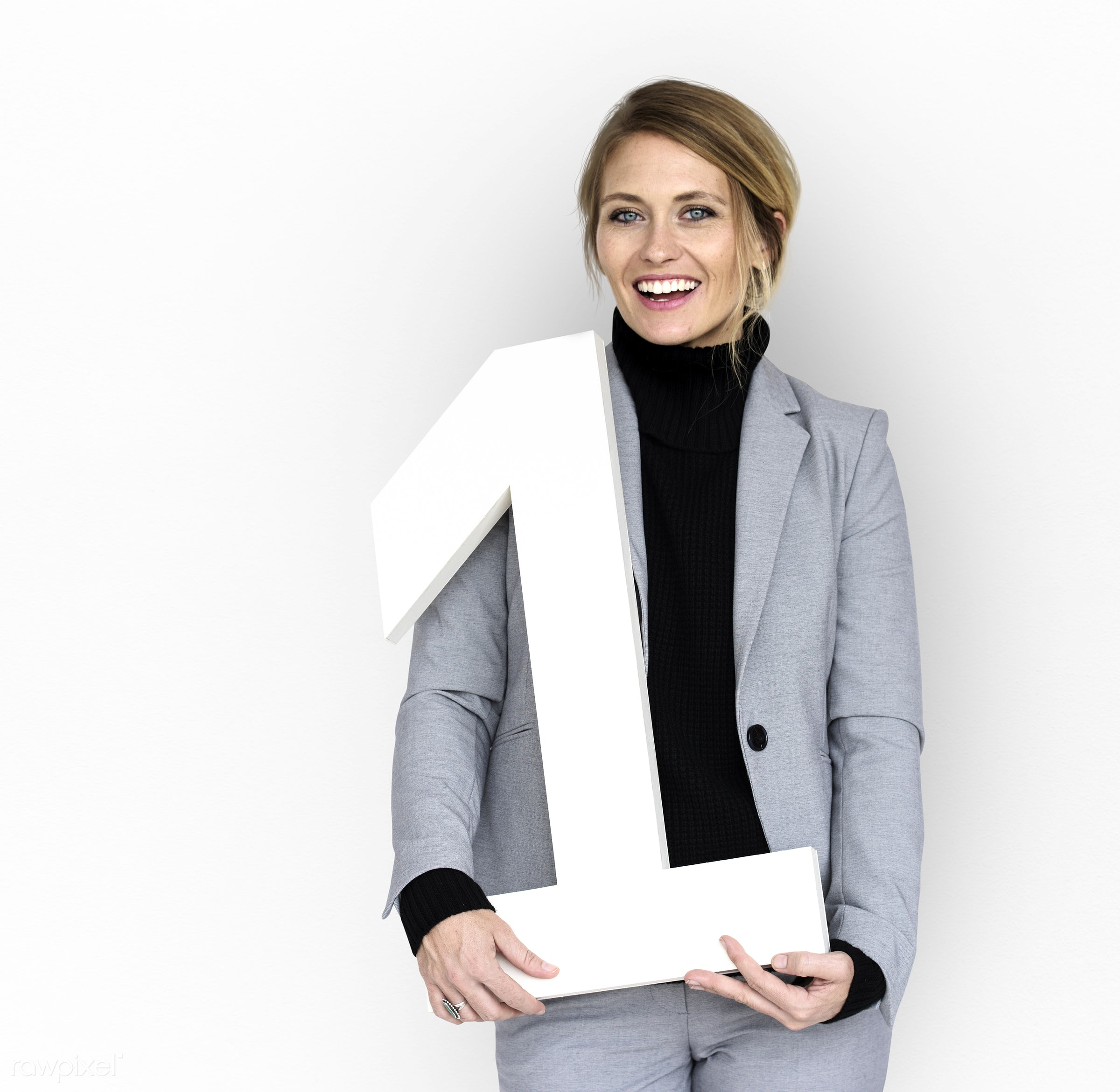 isolated on white, one, woman, suit, number, number one, smiling, hold, smile, happy, prop