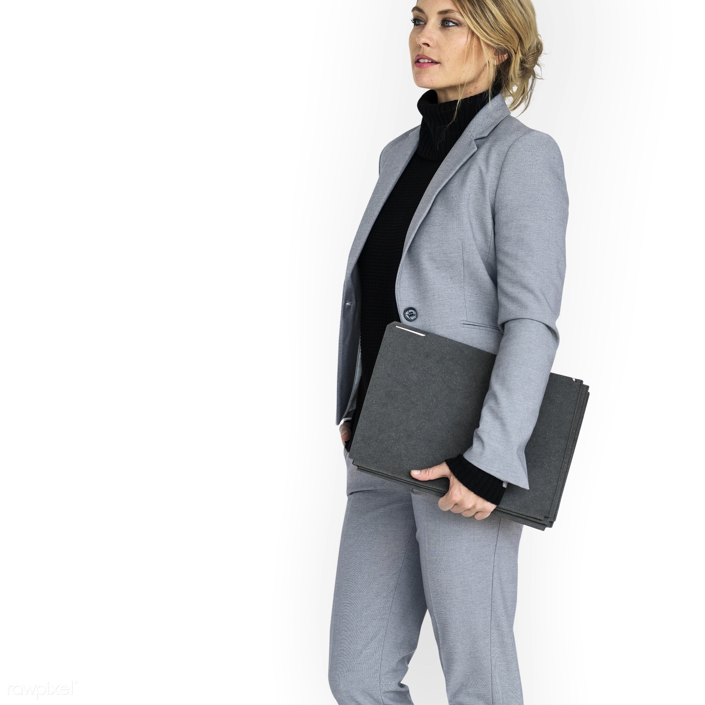 expression, studio, person, business wear, holding, isolated on white, people, caucasian, girl, woman, happy, smile,...