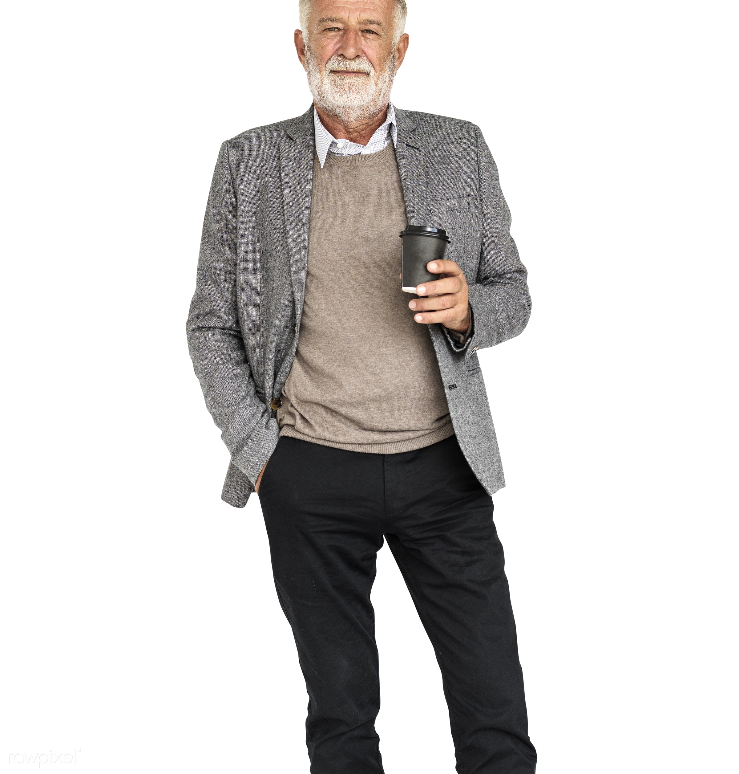 isolated on white, coffee, elderly, hat, hold, holding, laptop, man, profile, senior, stand, standing, tea