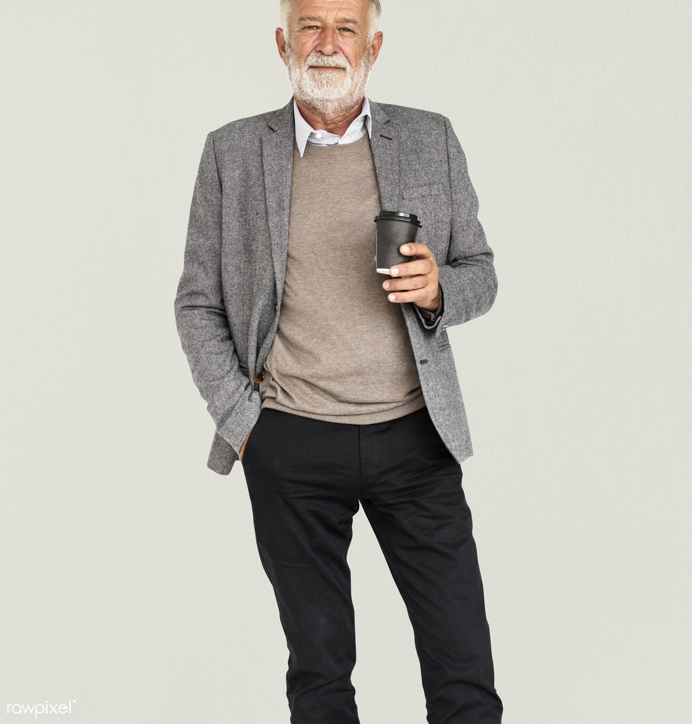 expression, studio, old, person, people, caucasian, pose, smile, positive, smiling, man, formal attire, isolated, formal...