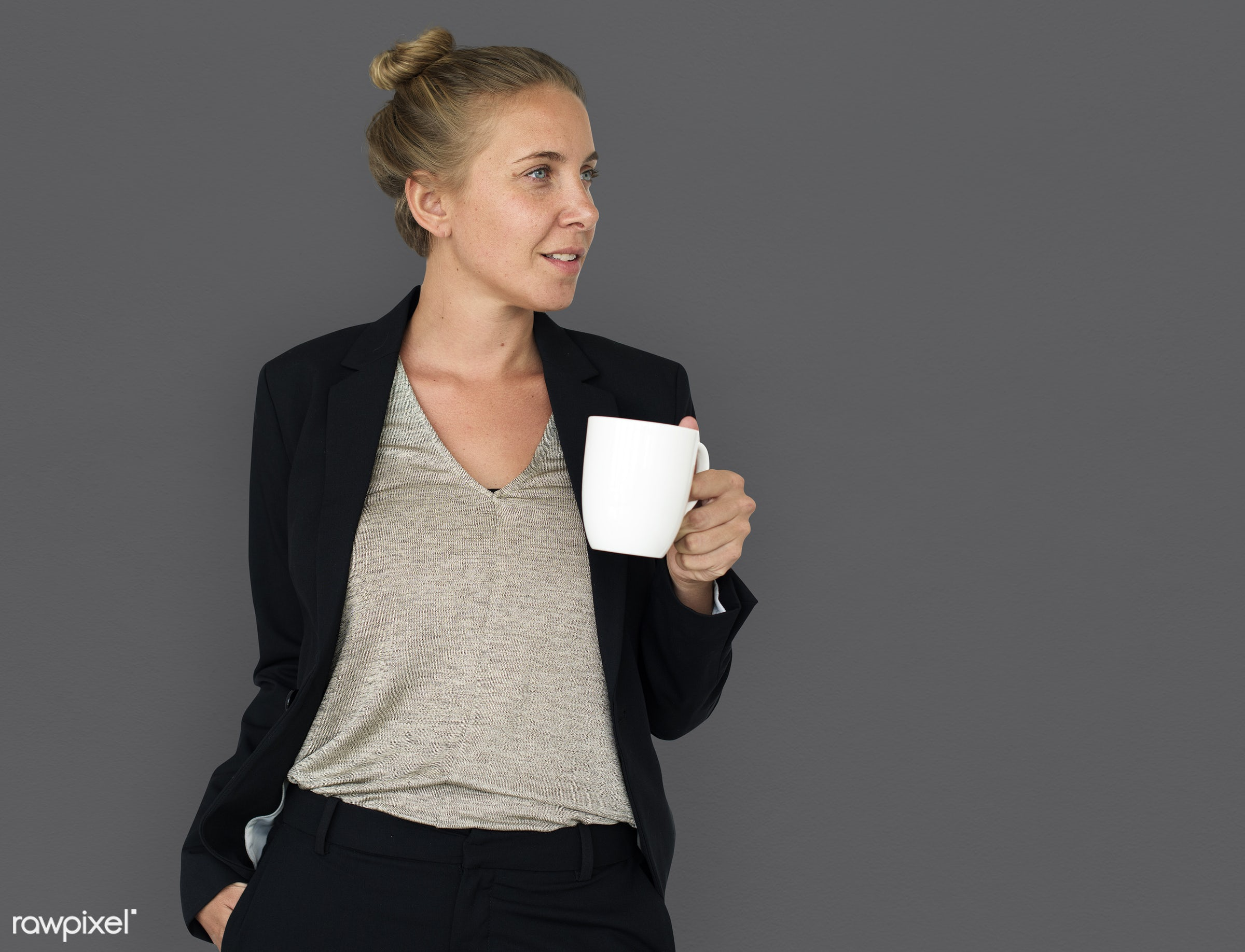 expression, studio, person, holding, drinking coffee, people, caucasian, pose, girl, woman, holding cup, smile, positive,...