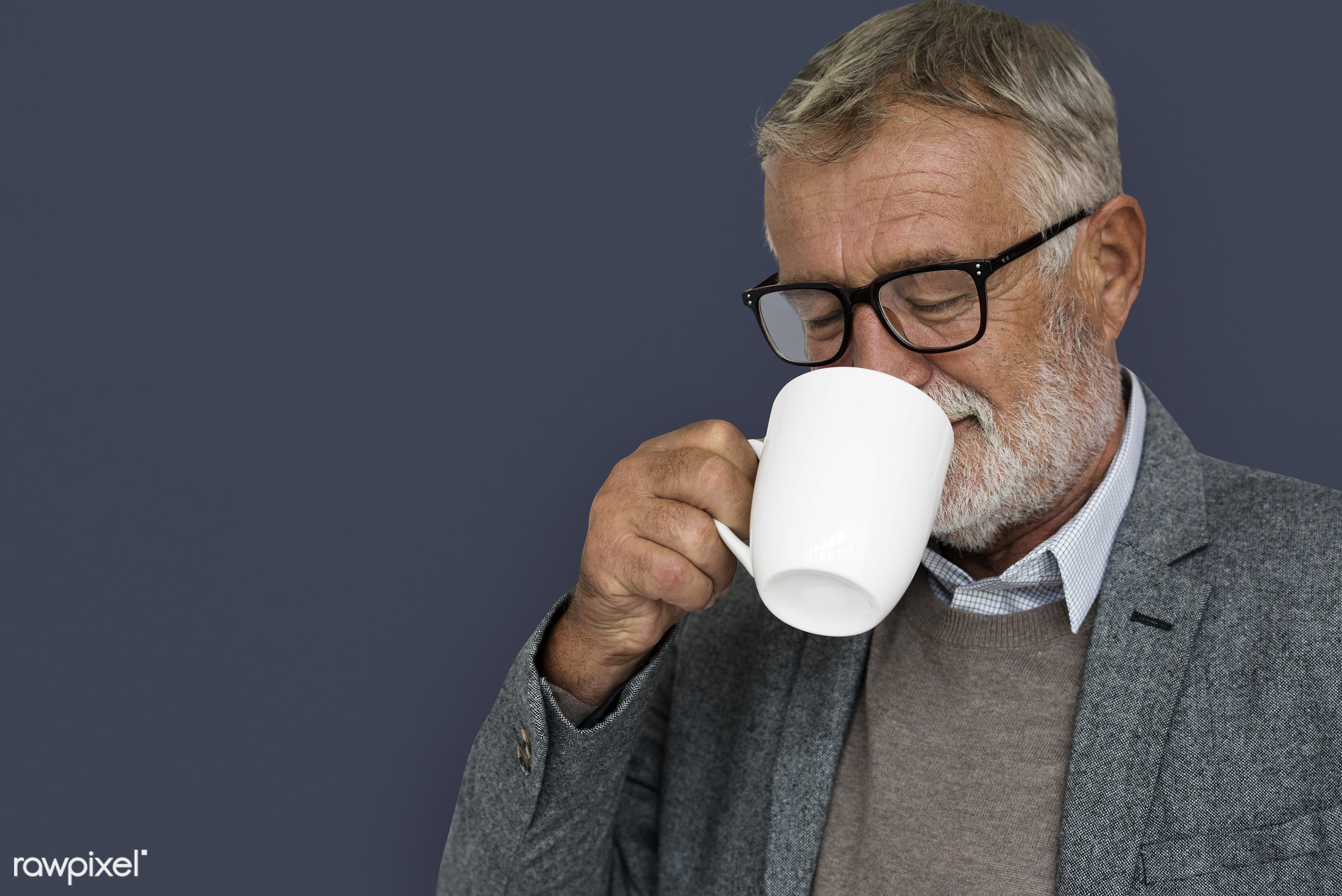 expression, studio, old, person, drinking, drinking coffee, people, caucasian, pose, smile, positive, smiling, man, formal...