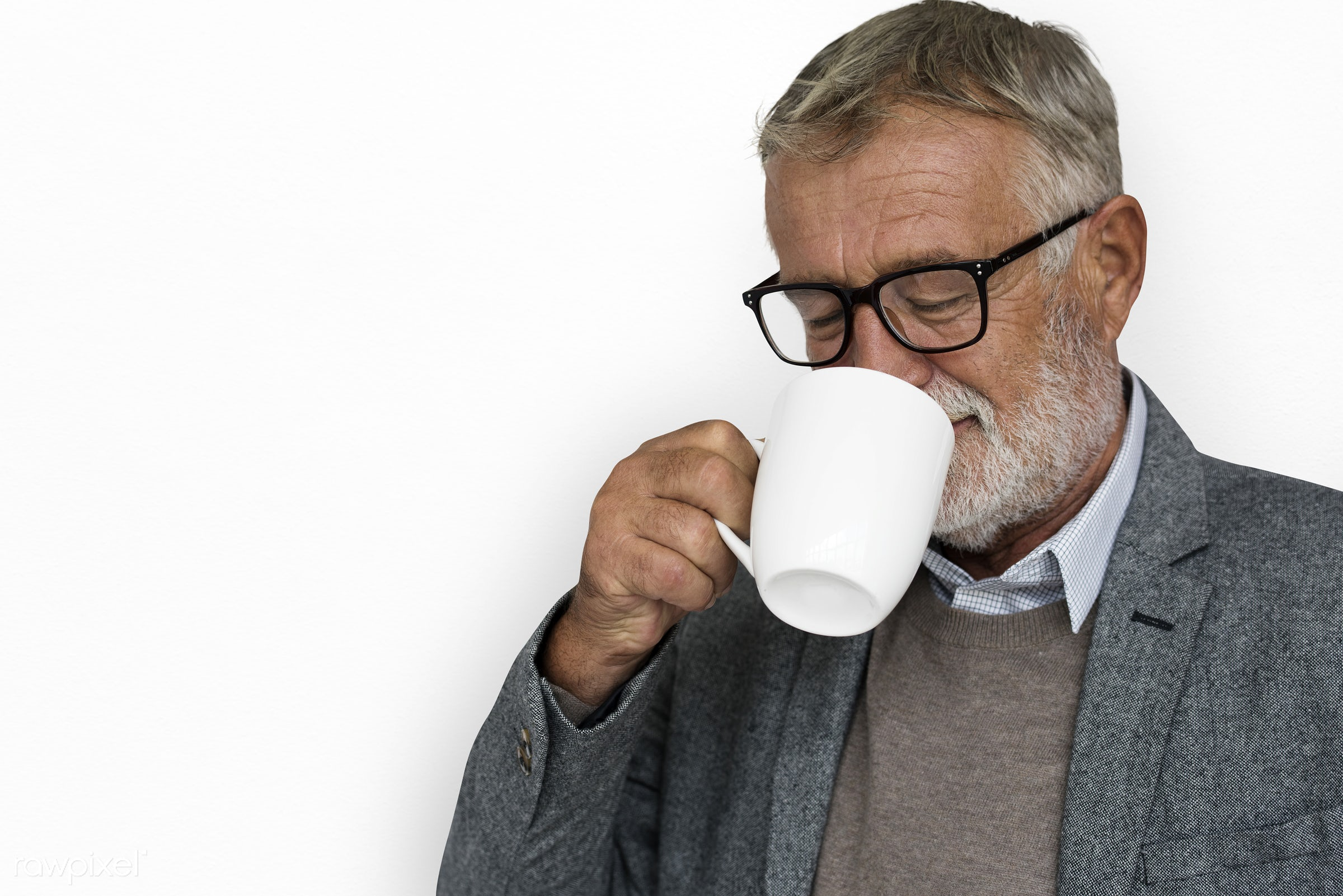 expression, studio, old, person, drinking, drinking coffee, isolated on white, people, caucasian, pose, smile, positive,...
