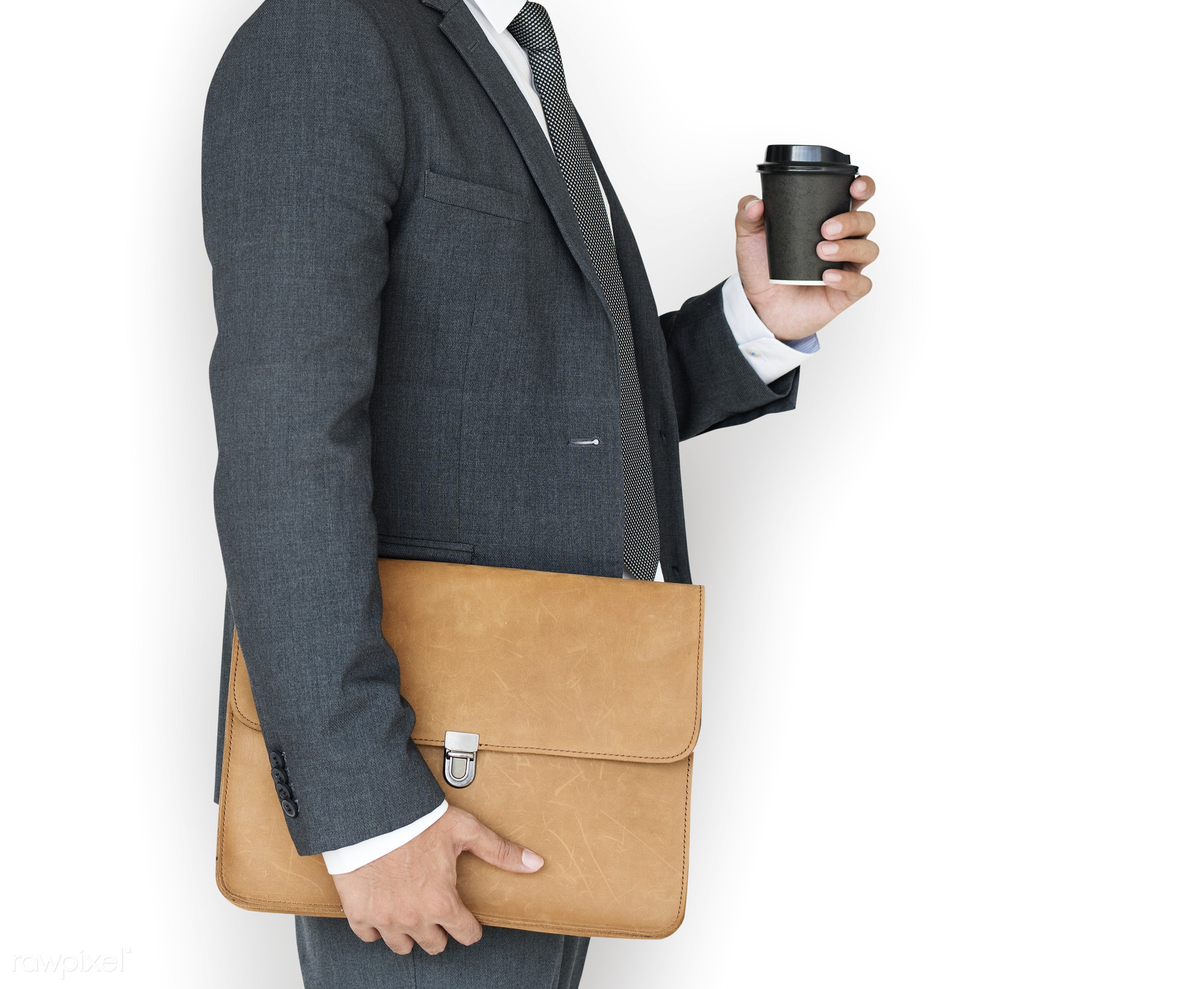 expression, studio, person, business wear, messenger bag, isolated on white, side view, people, business, side, holding...