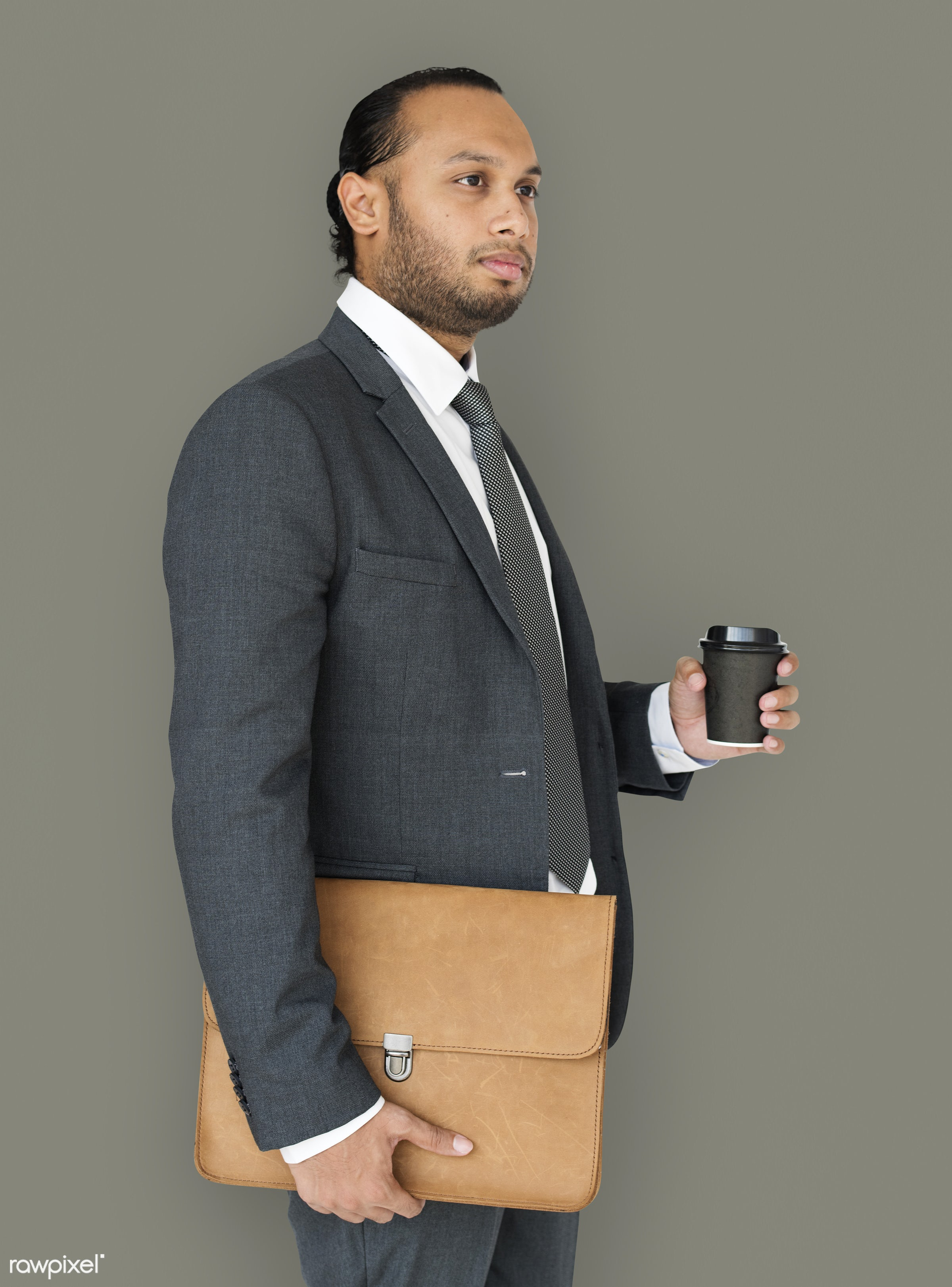 expression, studio, person, business wear, messenger bag, side view, people, business, asian, side, holding coffee, man,...