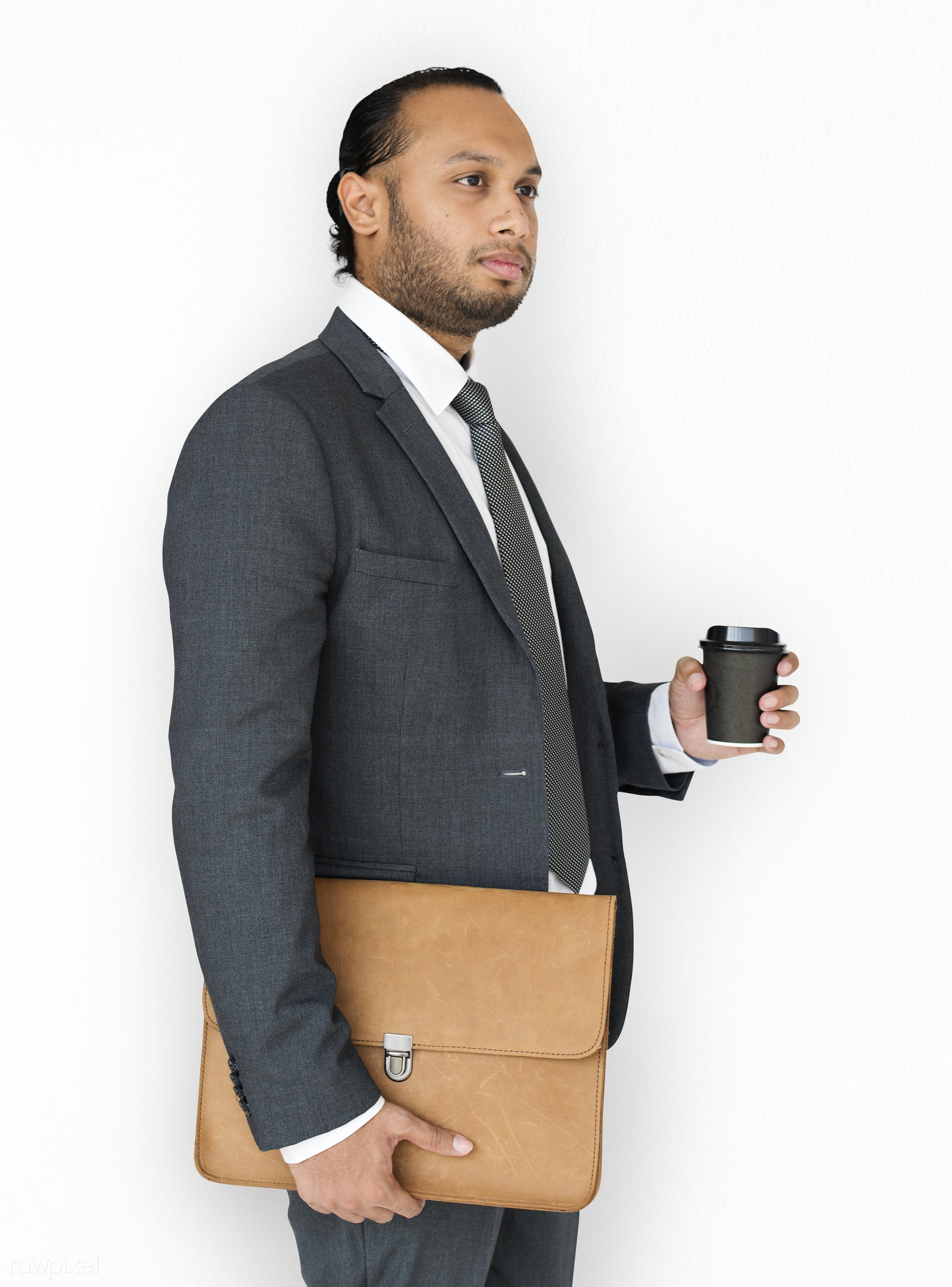 studio, expression, person, messenger bag, business wear, isolated on white, side view, people, business, asian, side,...