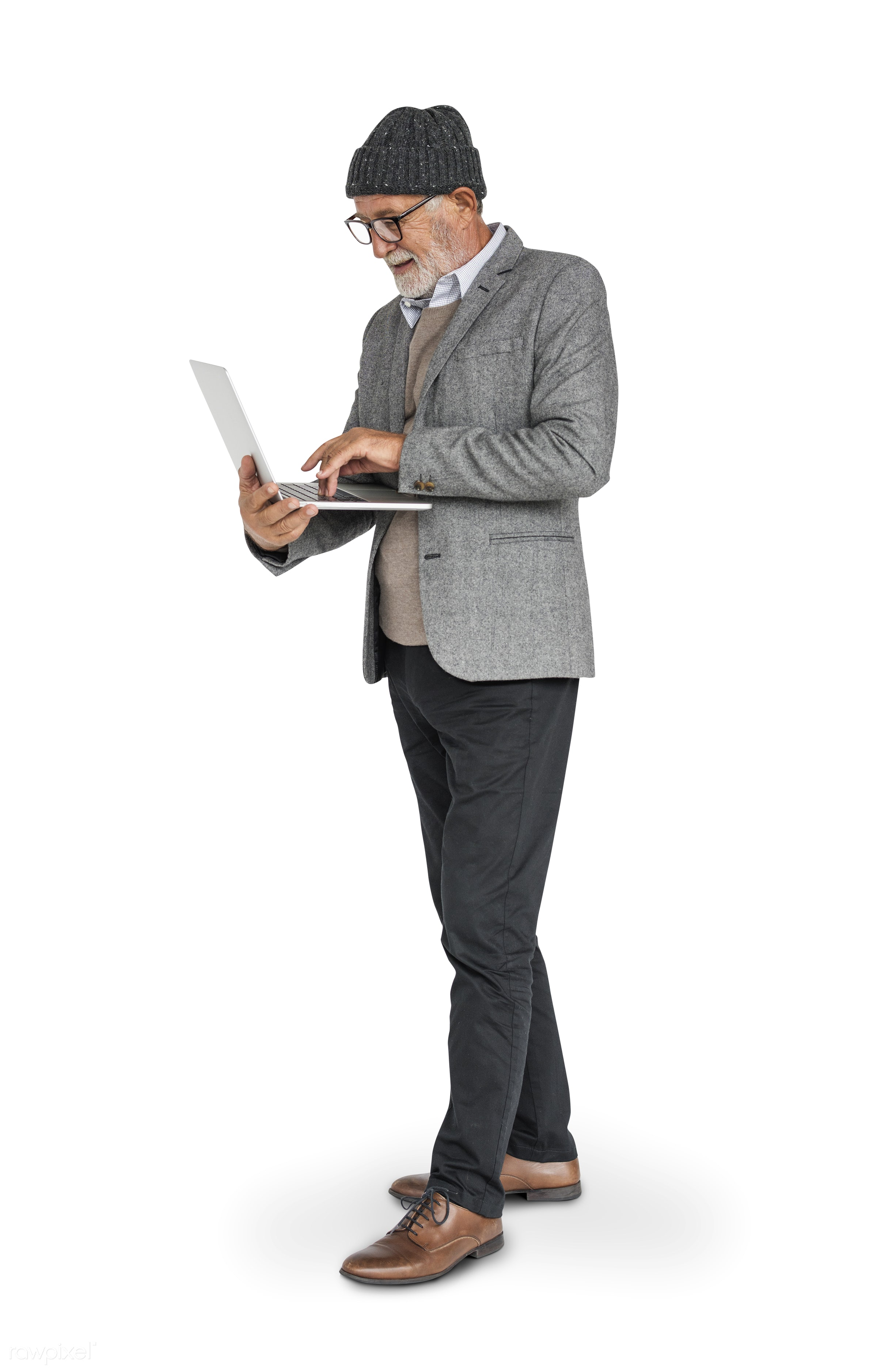isolated on white, hat, man, senior, elderly, laptop, hold, holding, typing, type, glasses, standing, stand