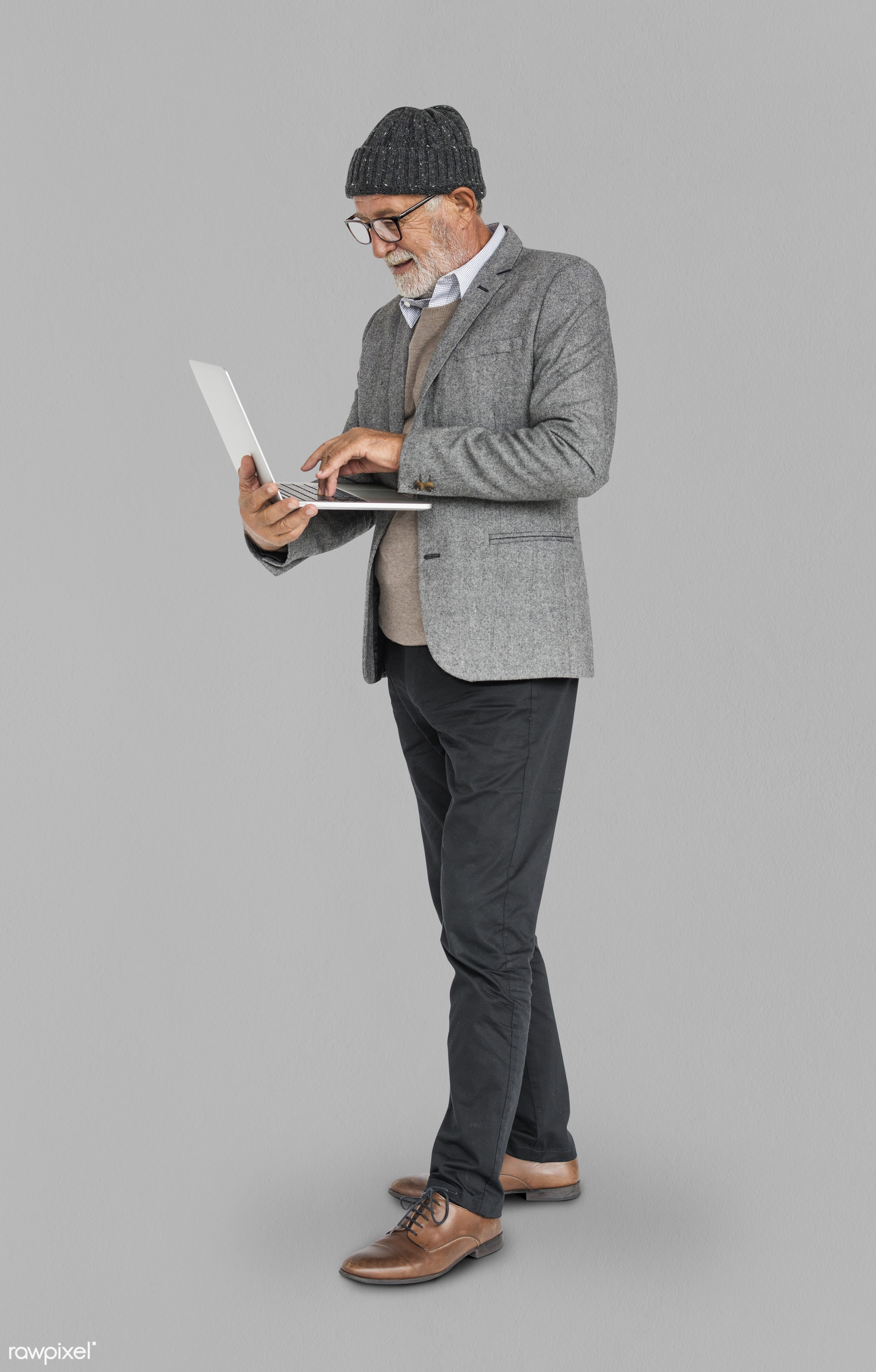 expression, studio, old, person, business wear, people, business, caucasian, pose, happy, laptop, smile, smiling, man,...