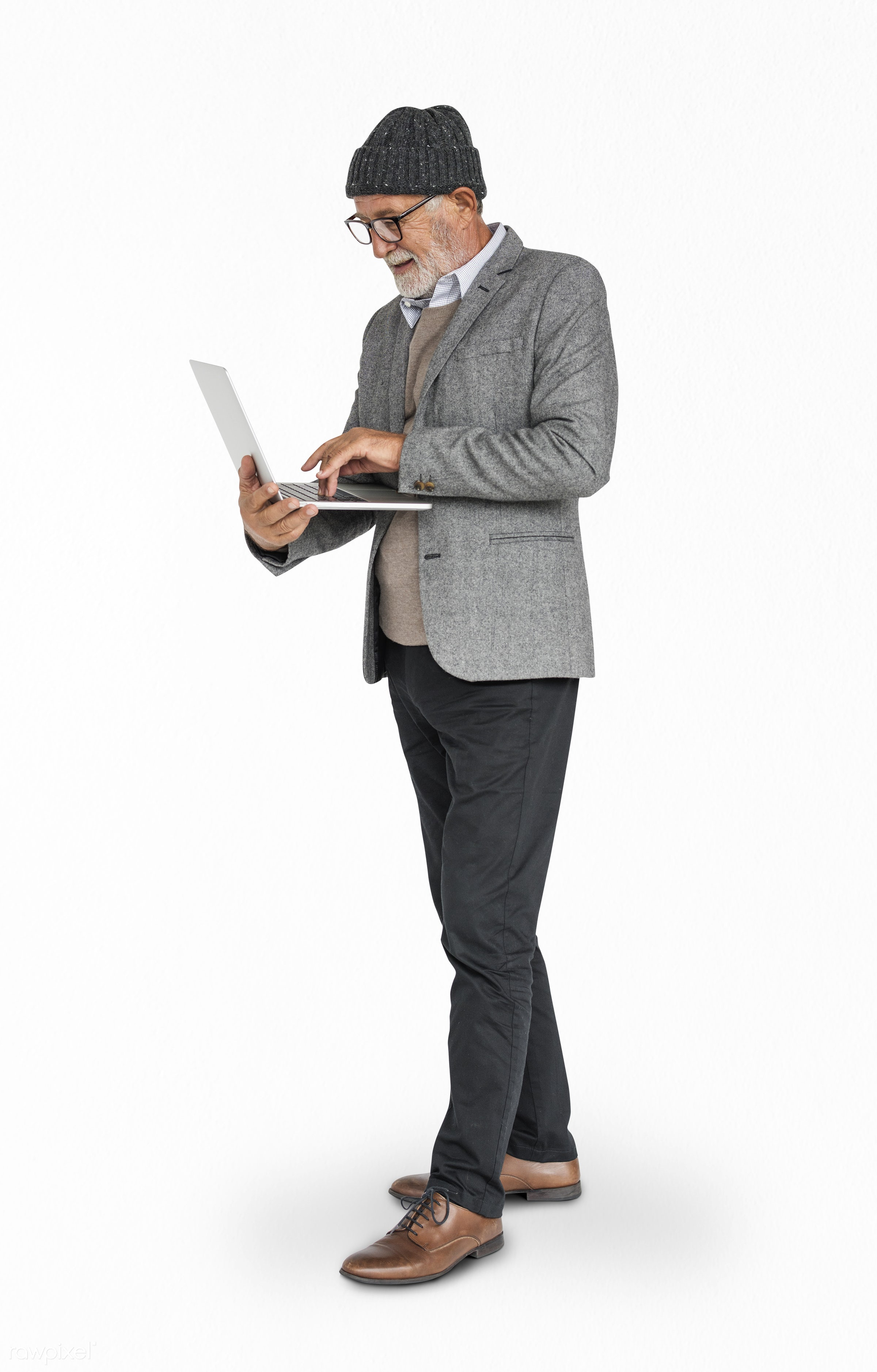 isolated on white, hold, holding, laptop, man, senior, standing, thinking, type, typing, work, working