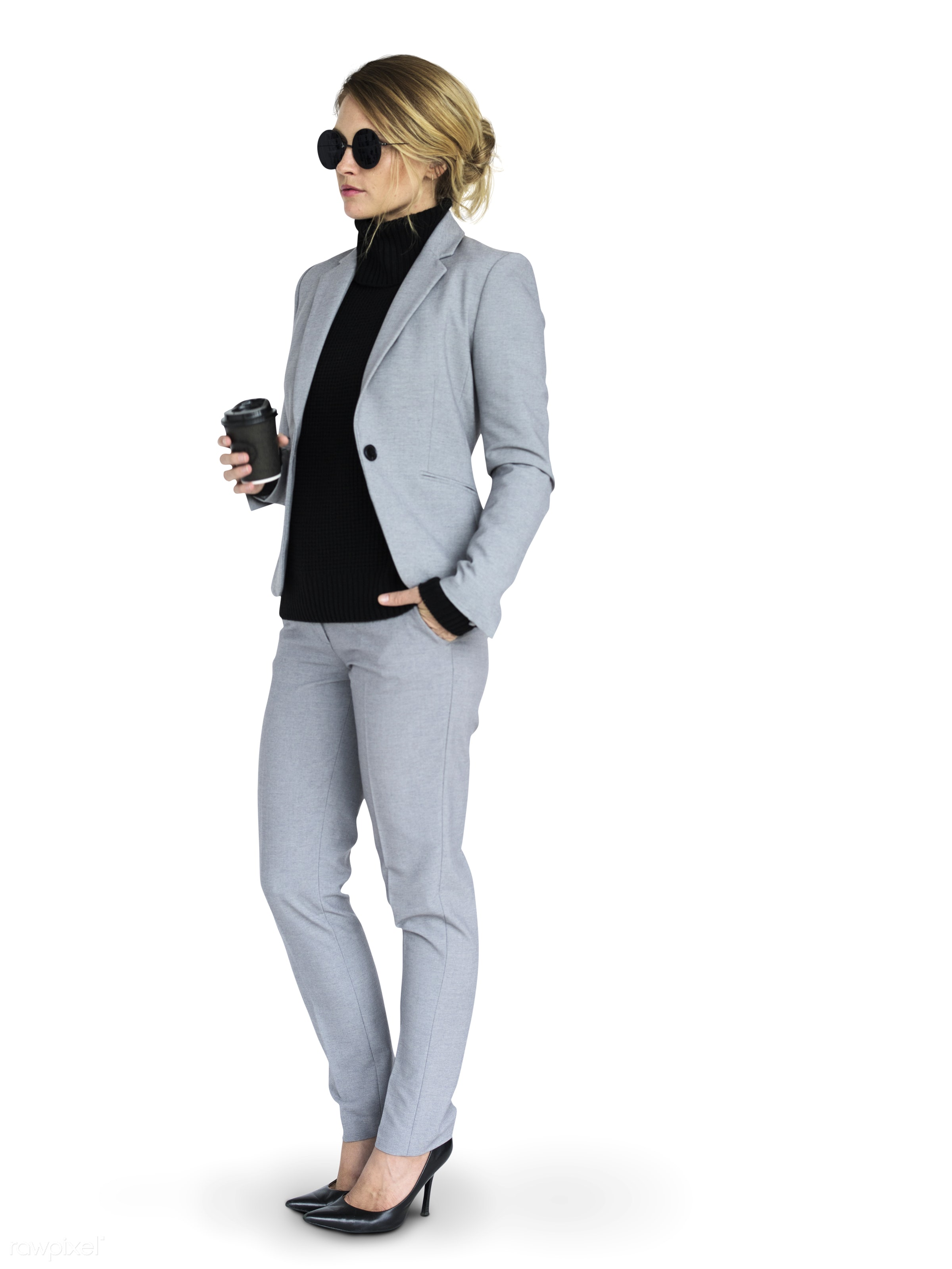 isolated on white, tea, coffee, woman, business woman, adult, glasses, isolated, hot drink, business, suit